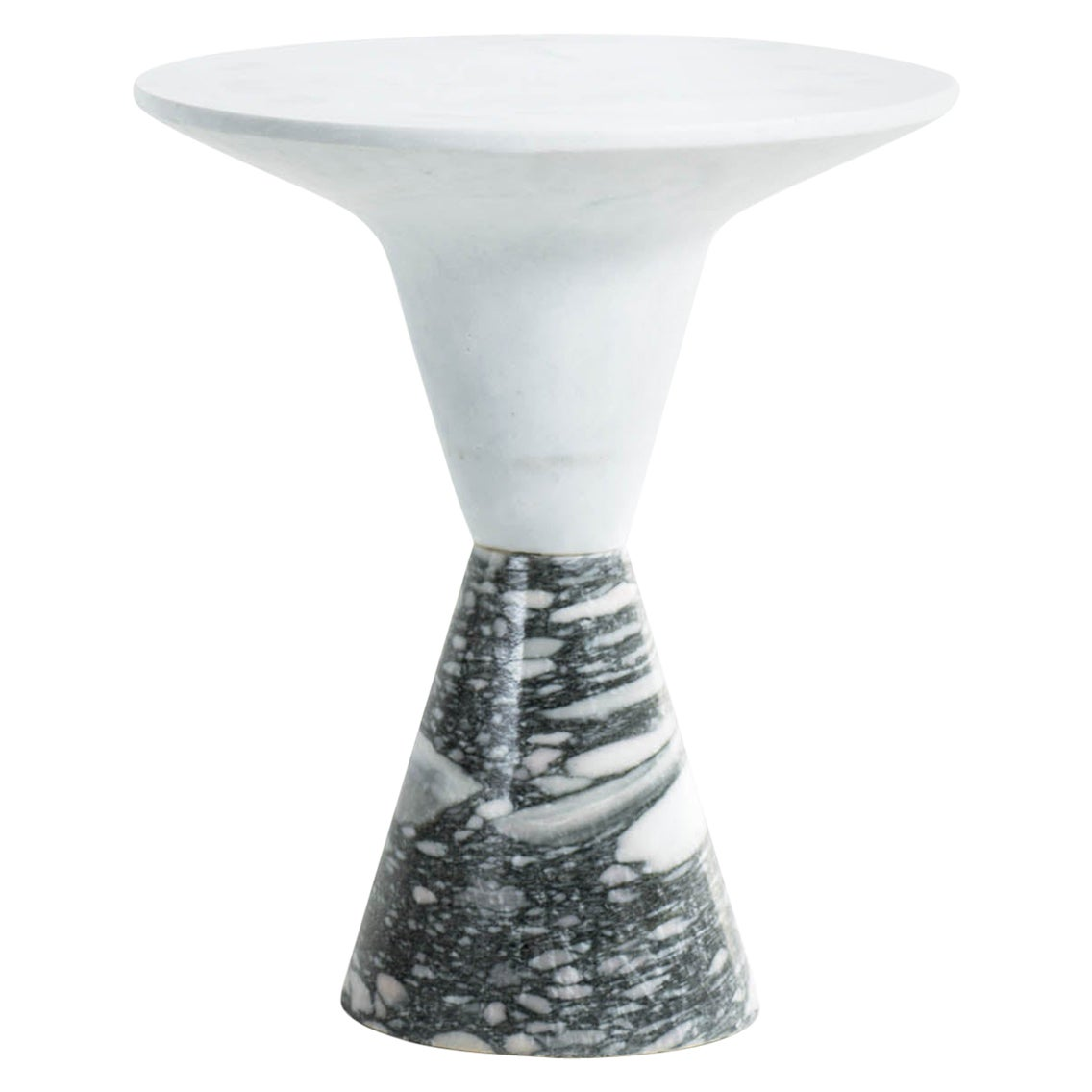 DeMarco Side Table or End Table with White Marble Top and Green Marble Base