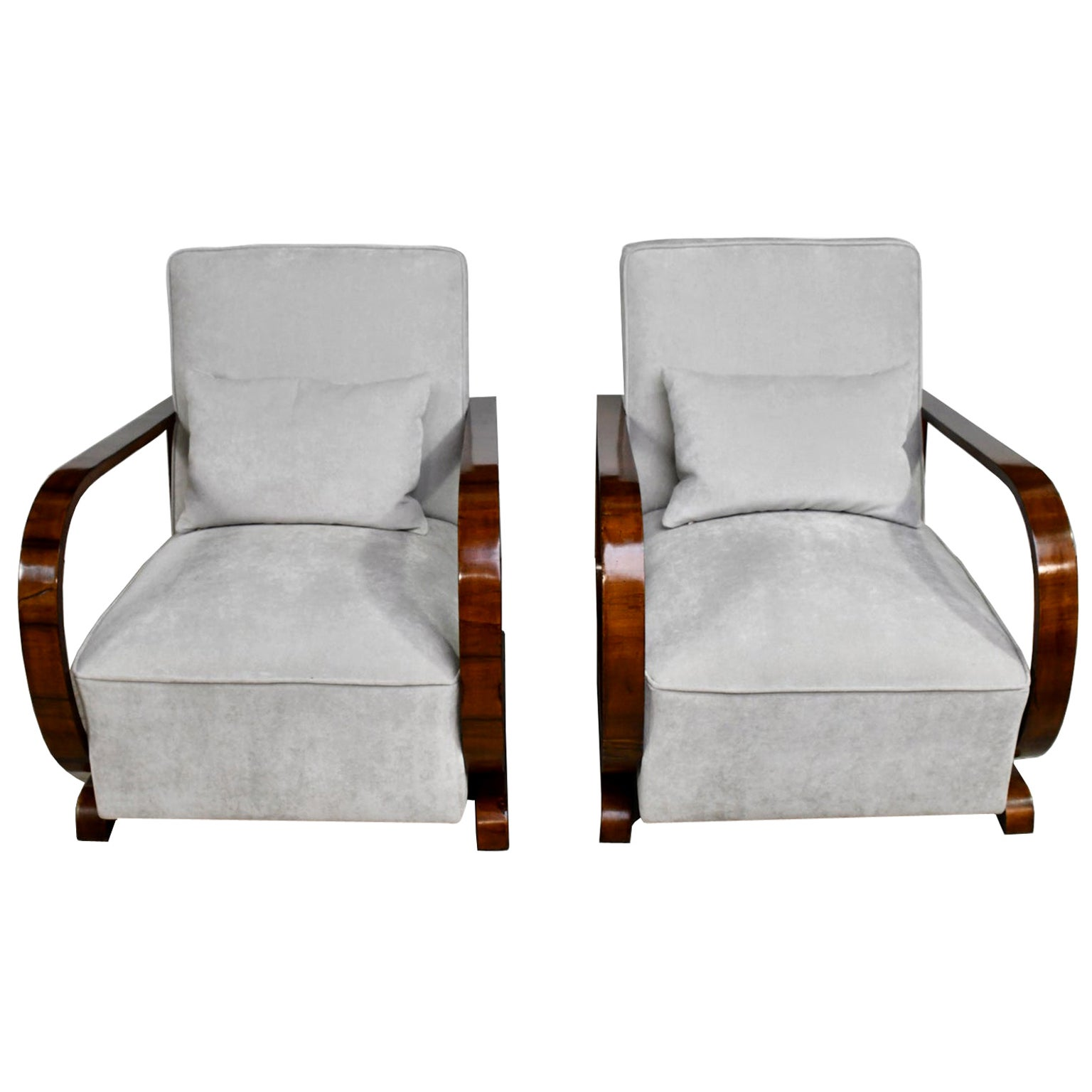 Pair of Viennese Art Deco Armchairs in Walnut with Grey Upholstery, Austria