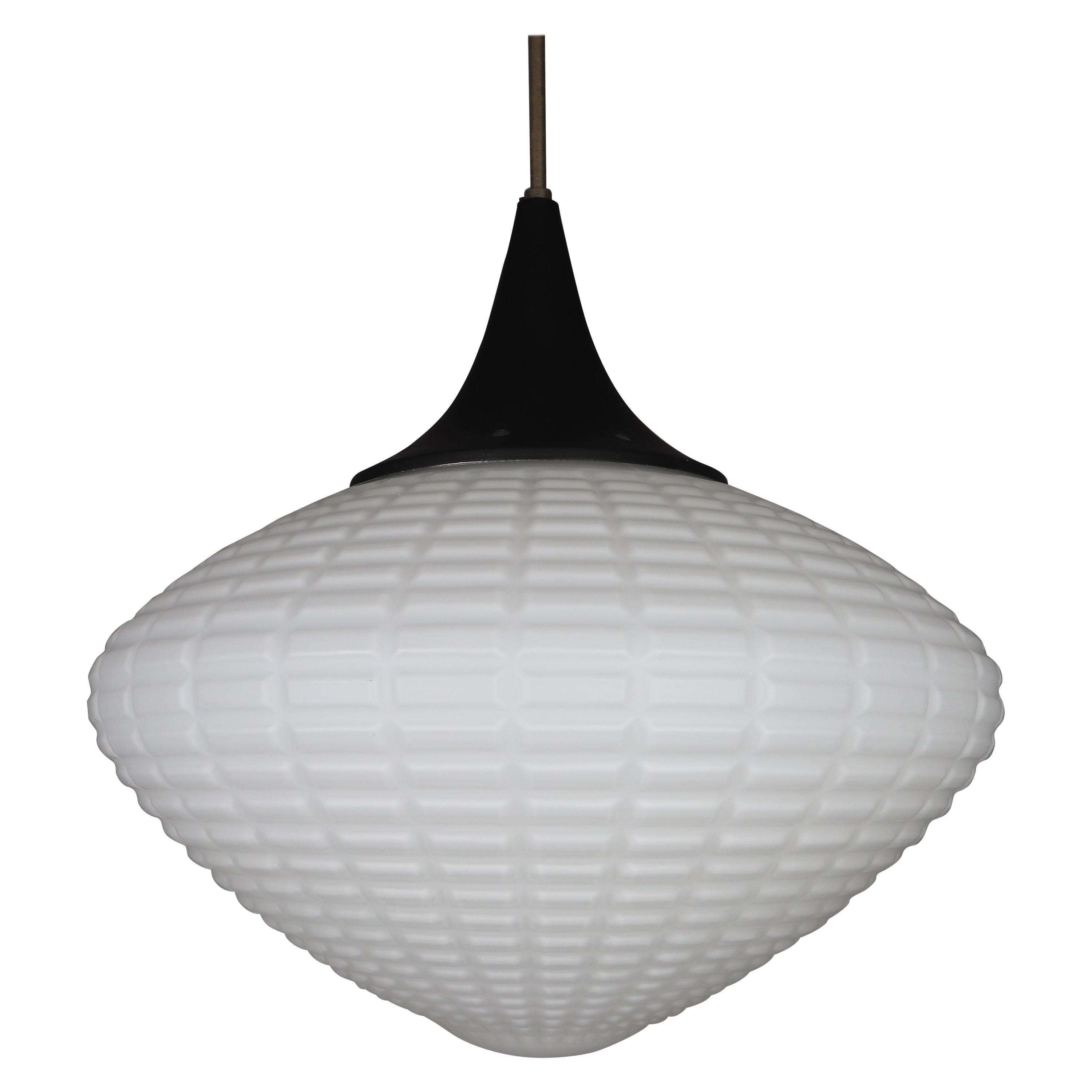 Large Midcentury Pendant, Structured Opaline Glass, Europe, 1960s