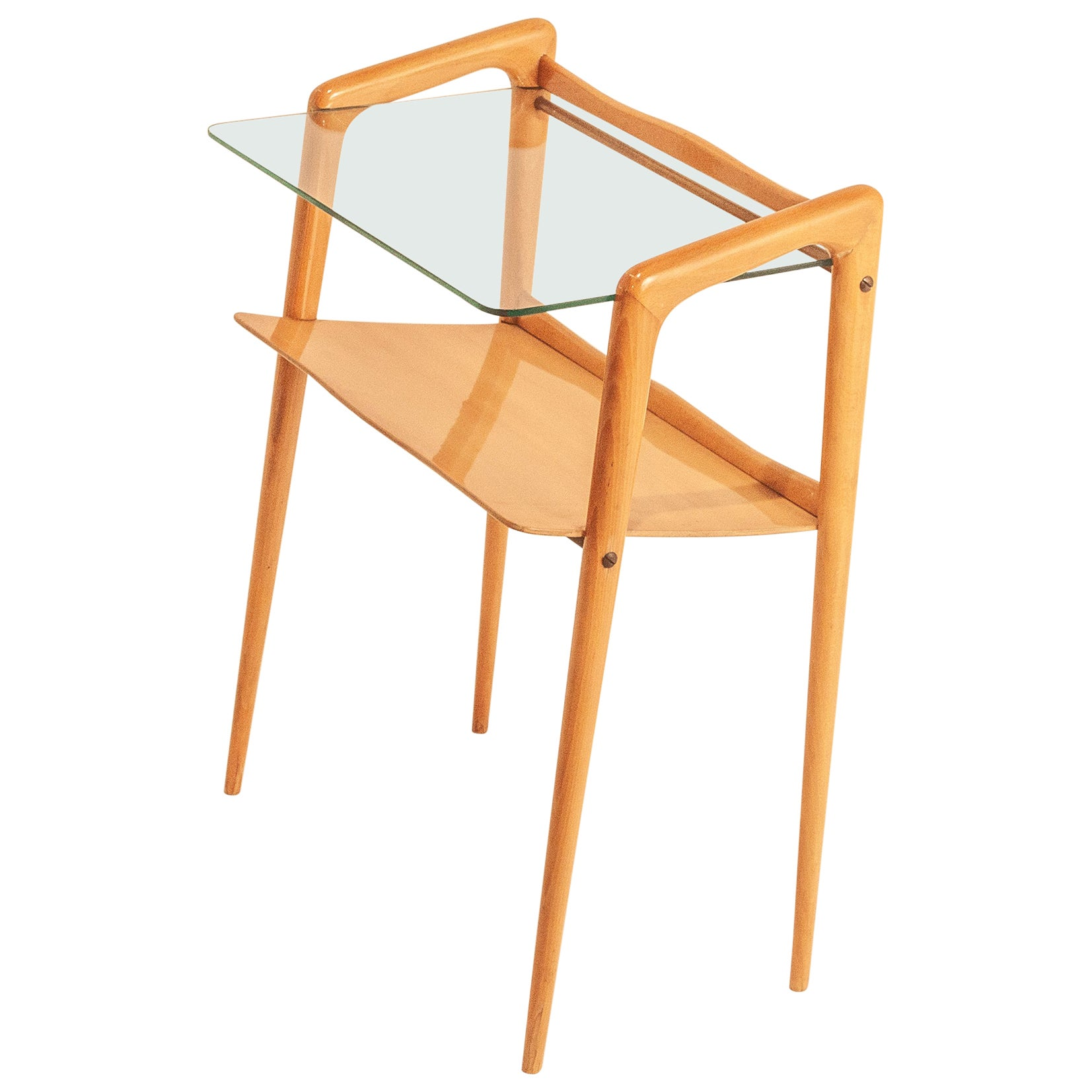 Italian Side Table designed by  Ico Parisi, Wood and Clear Glass, 1950s