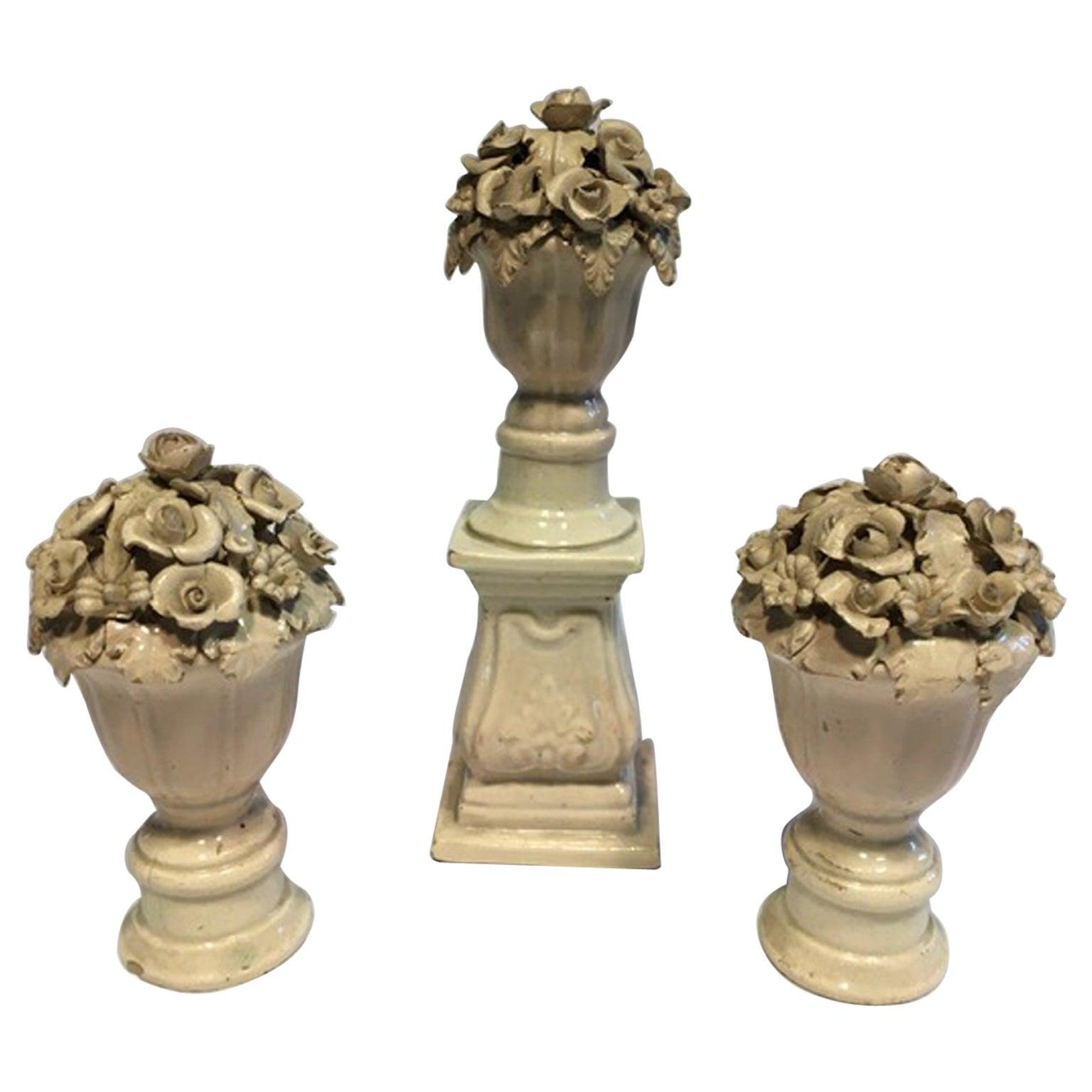 Mid-18th Century Set of 3 White Porcelain Vases with Flowers for Table Decor