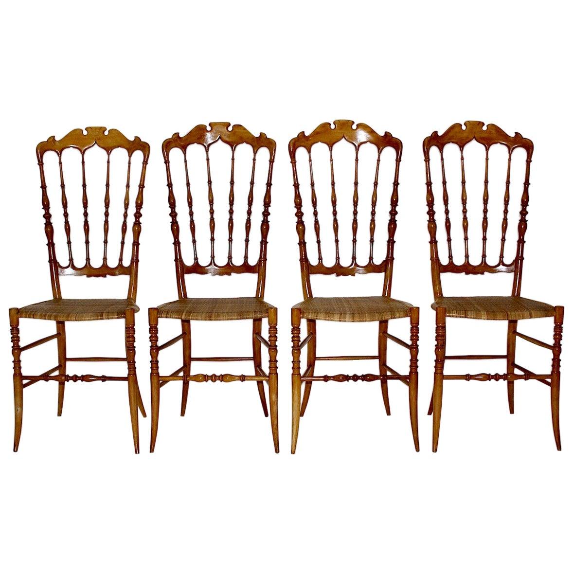 Mid-Century Modern Vintage Set of Four Beech Chiavari Dining Chairs, 1950s