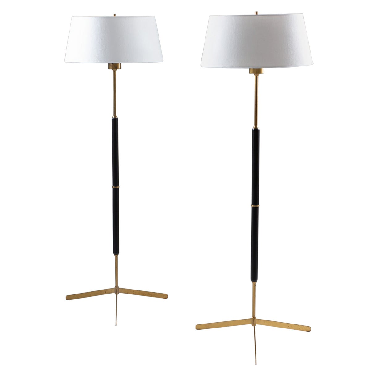 Scandinavian Midcentury Floor Lamps in Brass and Wood by Bergboms, Sweden