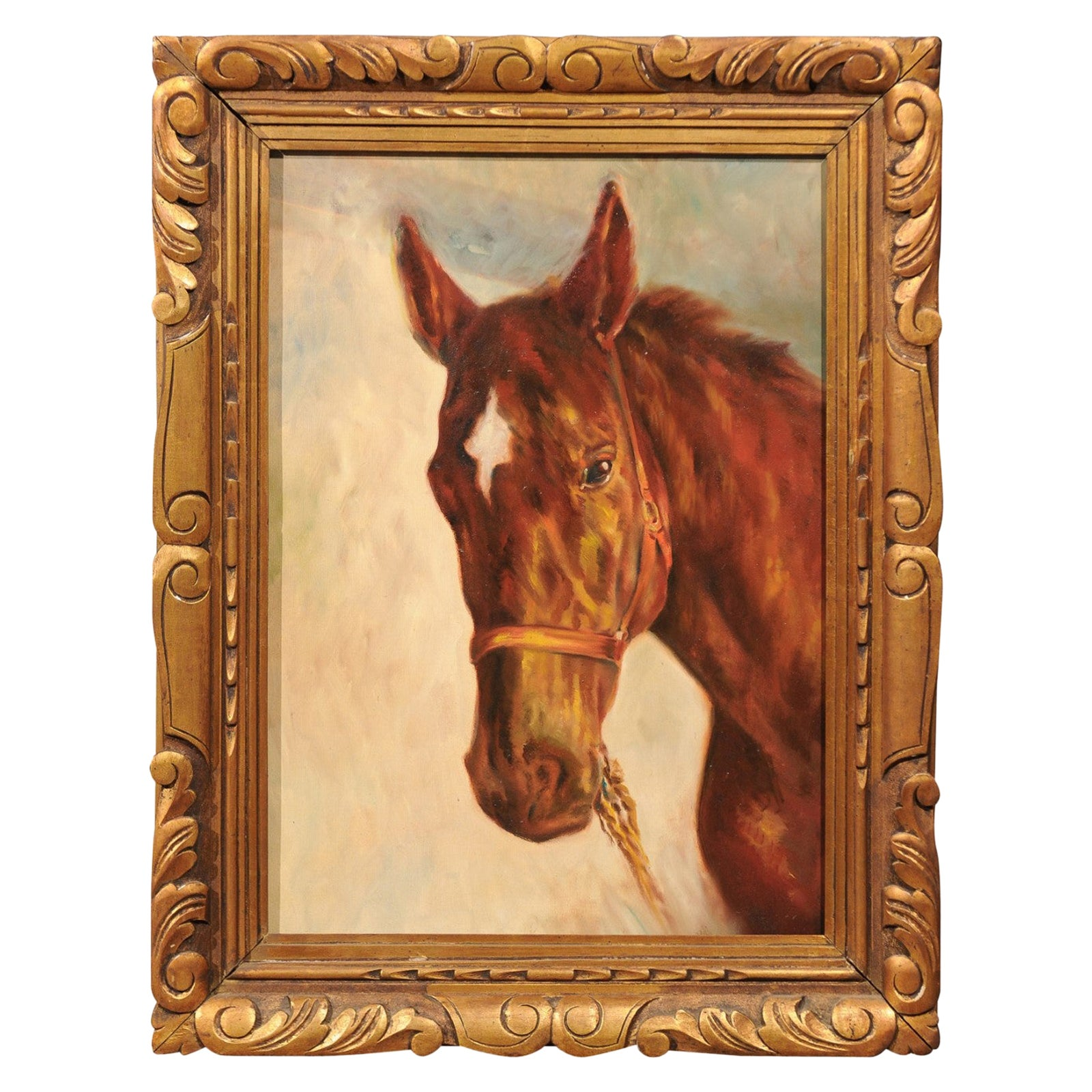 Belgian Oil On Canvas Horse Painting Depicting A Horse Head Seen In Profile For Sale At 1stdibs