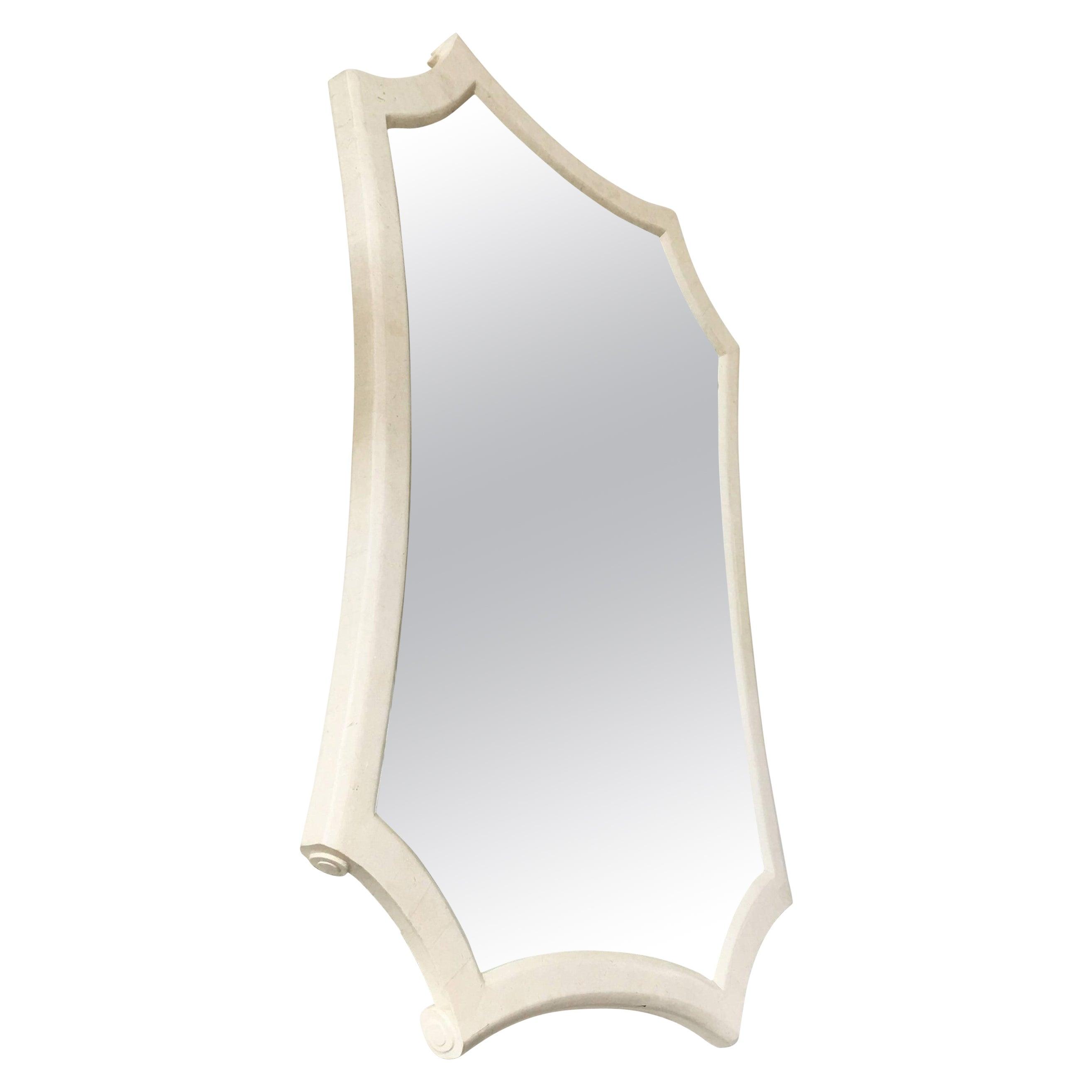 Maitland Smith White Tessellated Marble Mirror
