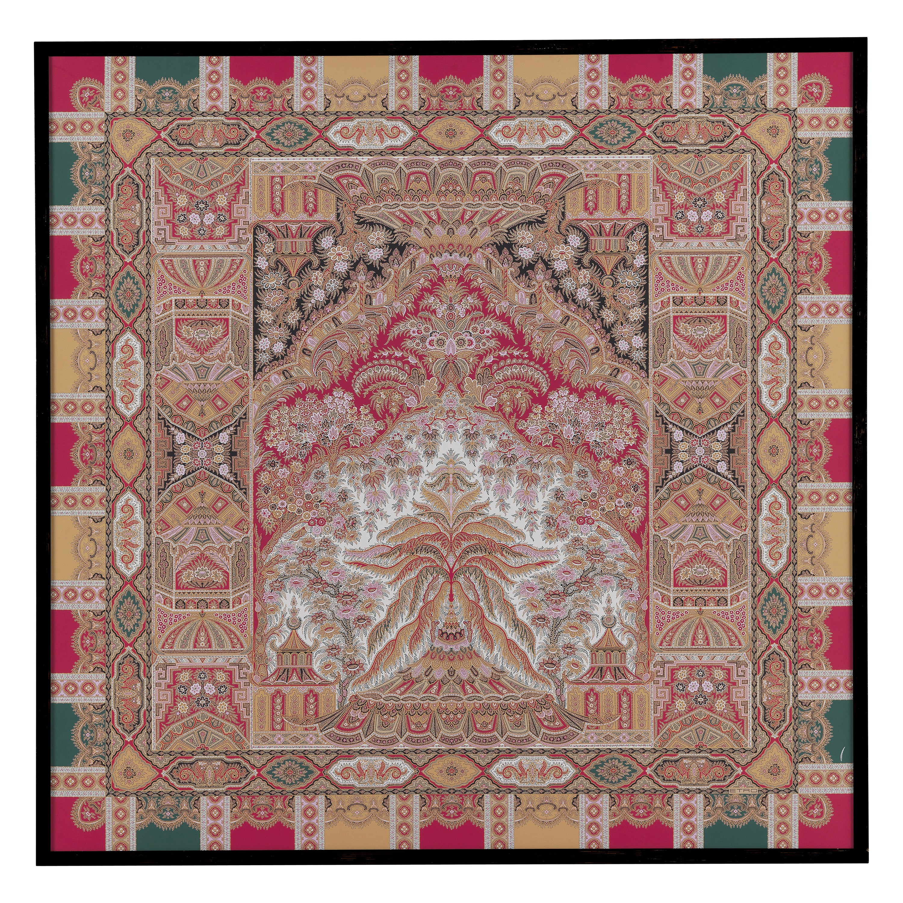 """Etro Home Interiors Shawl """"O"""" Print on Canvas with Frame in Wood"""