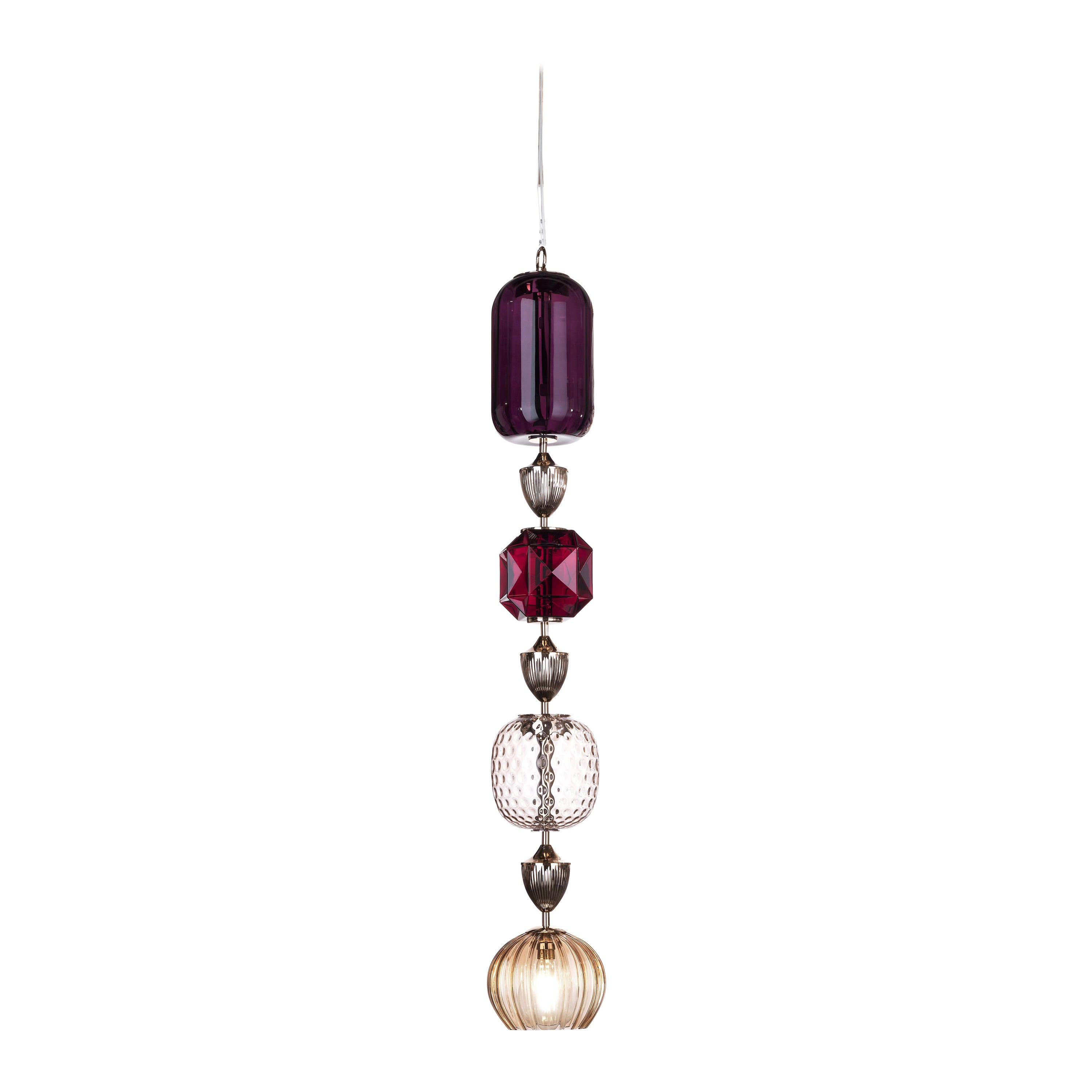 Etro Home Interiors Mckenzie 4-Light Ceiling Lamp in Glass and Metal