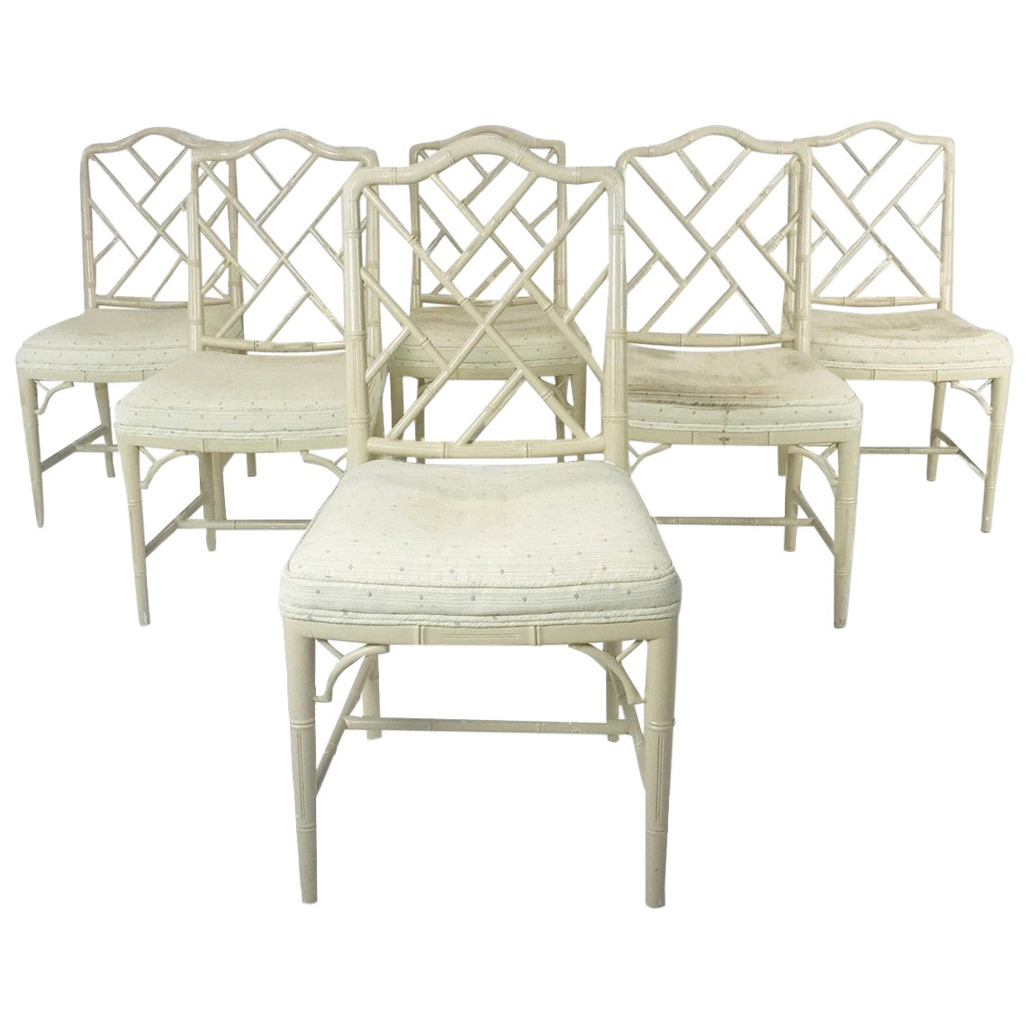 6 Faux Bamboo Chinese Chippendale Style Dining Chairs