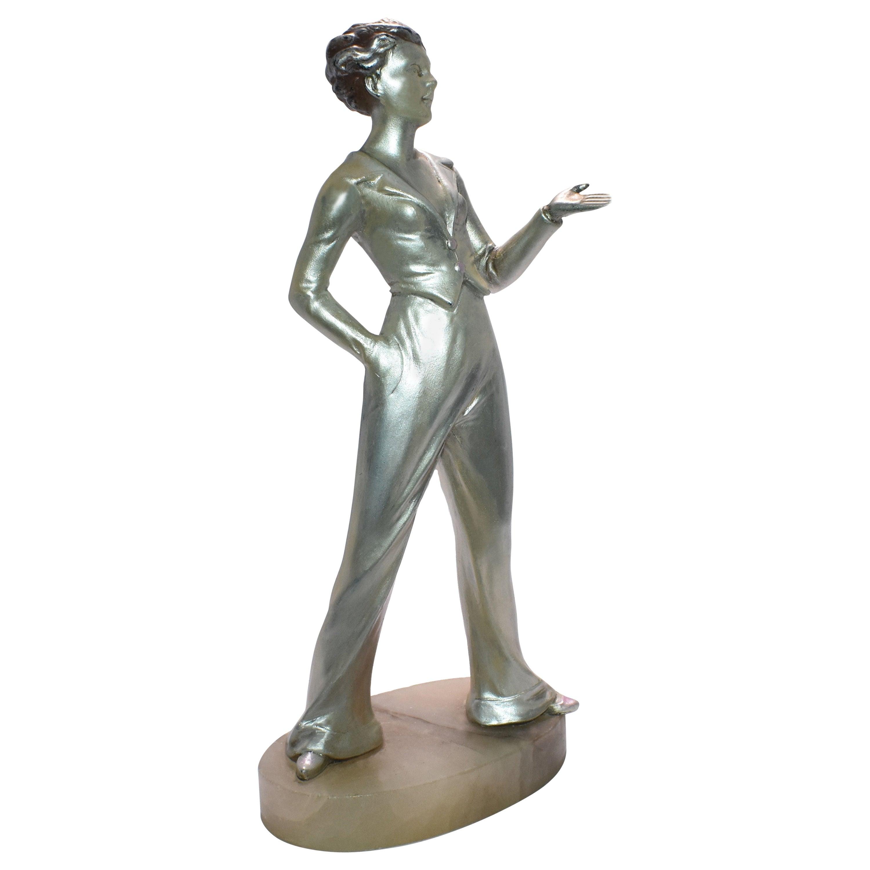 Art Deco Spelter Figure Attributed to Josef Lorenzl, circa 1930s