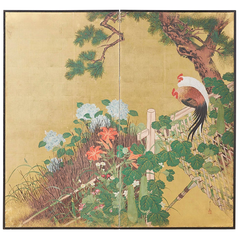 Japanese Two-Panel Showa Screen of Two Roosters
