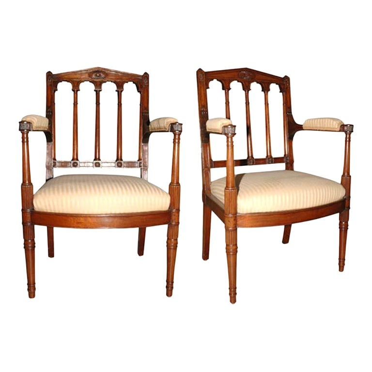 Pair of Louis XVI Carved Mahogany Fauteuils by George Jacob