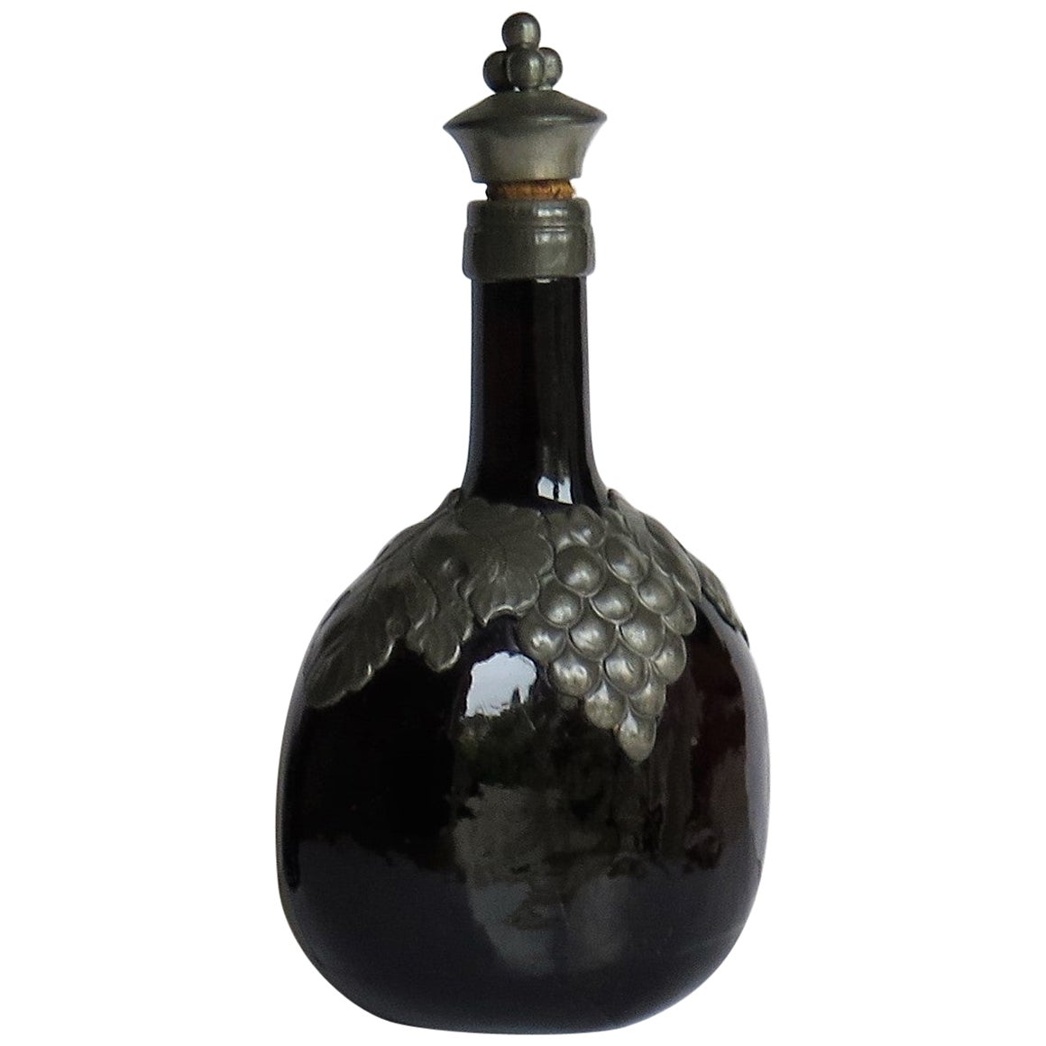 Amber Glass Bottle Decanter with Pewter Grape and Leaf Collar, Danish