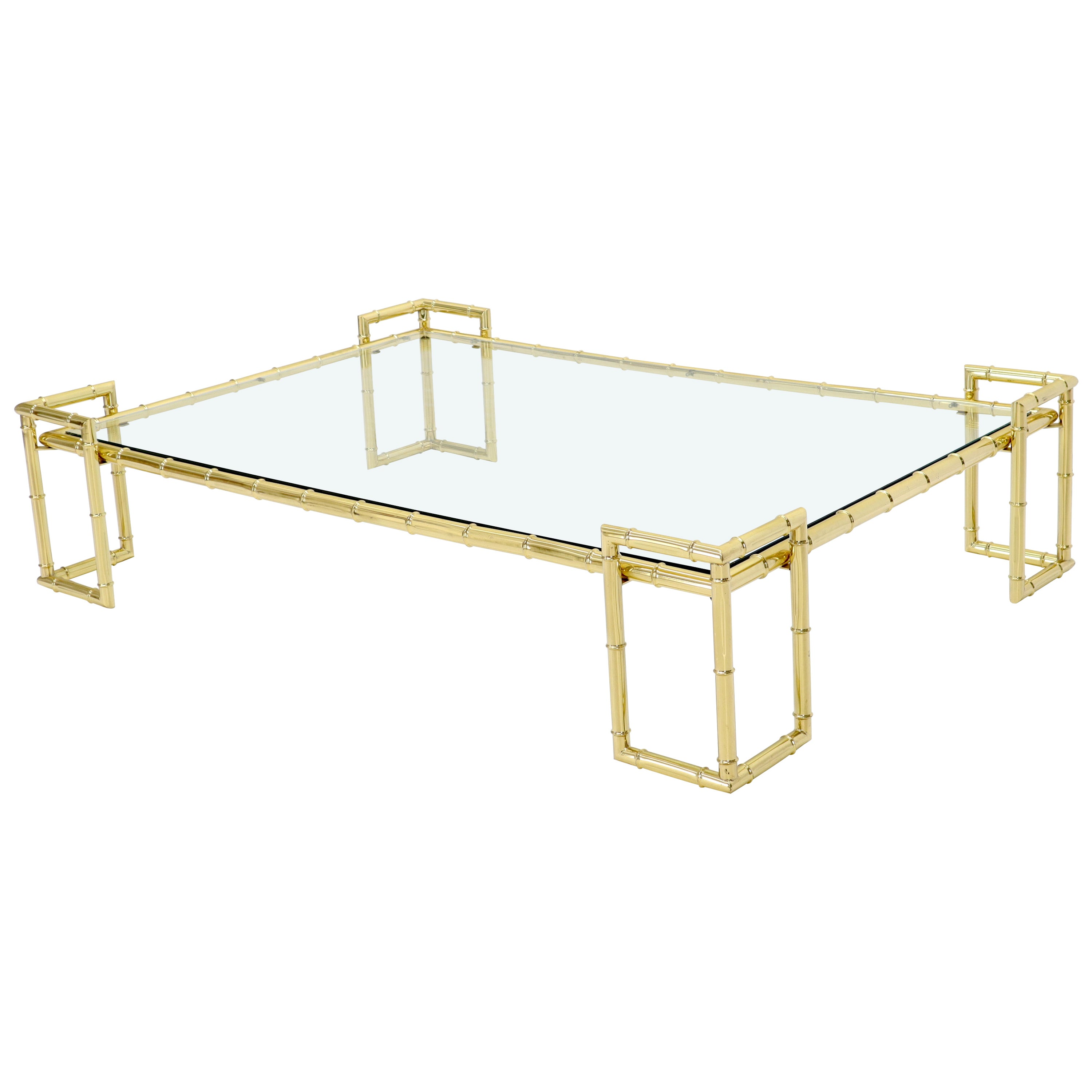 Faux Bamboo Brass and Glass Top Large Rectangle Coffee Table