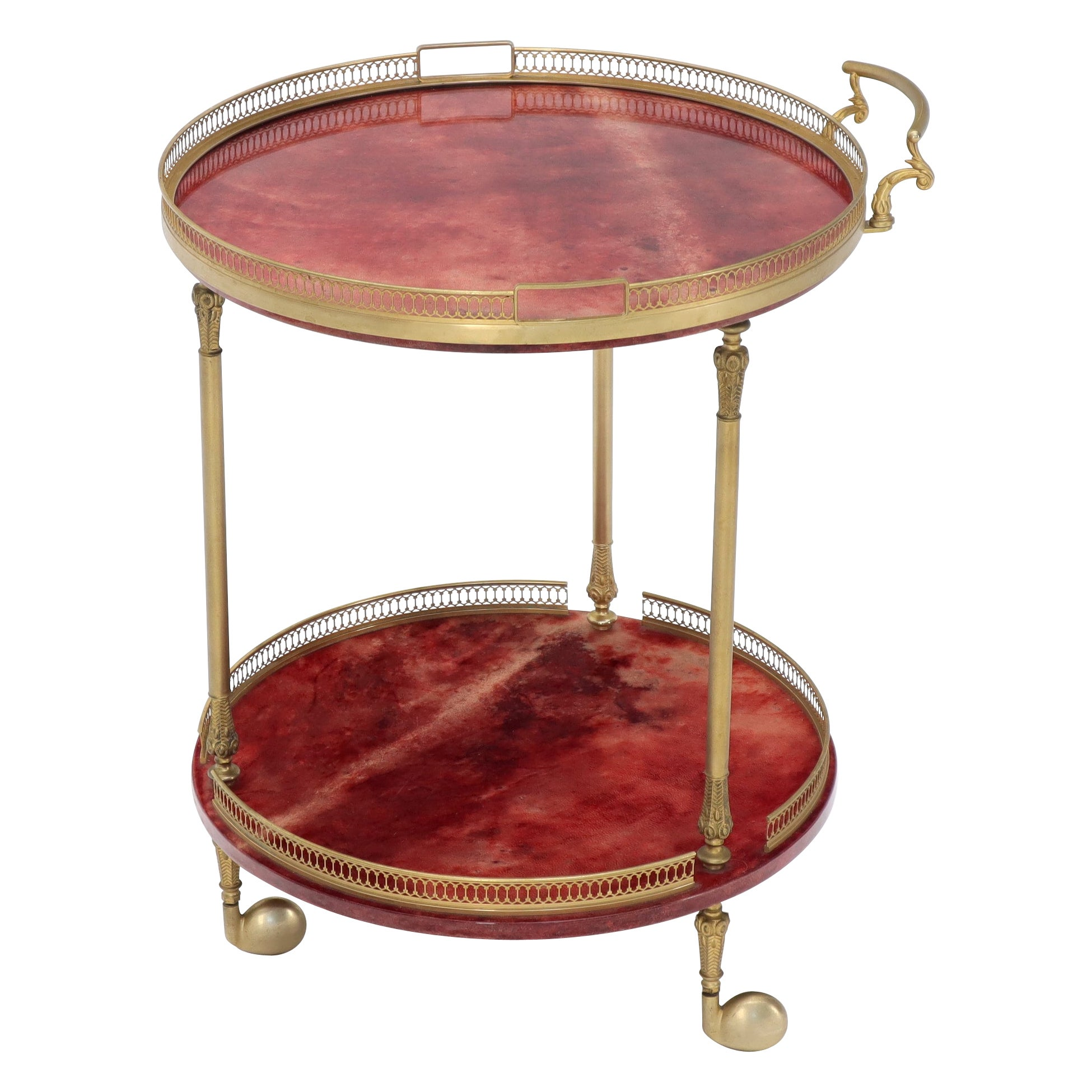 Round Aldo Tura Lacquered Parchment Goat Skin Serving Bar Cart