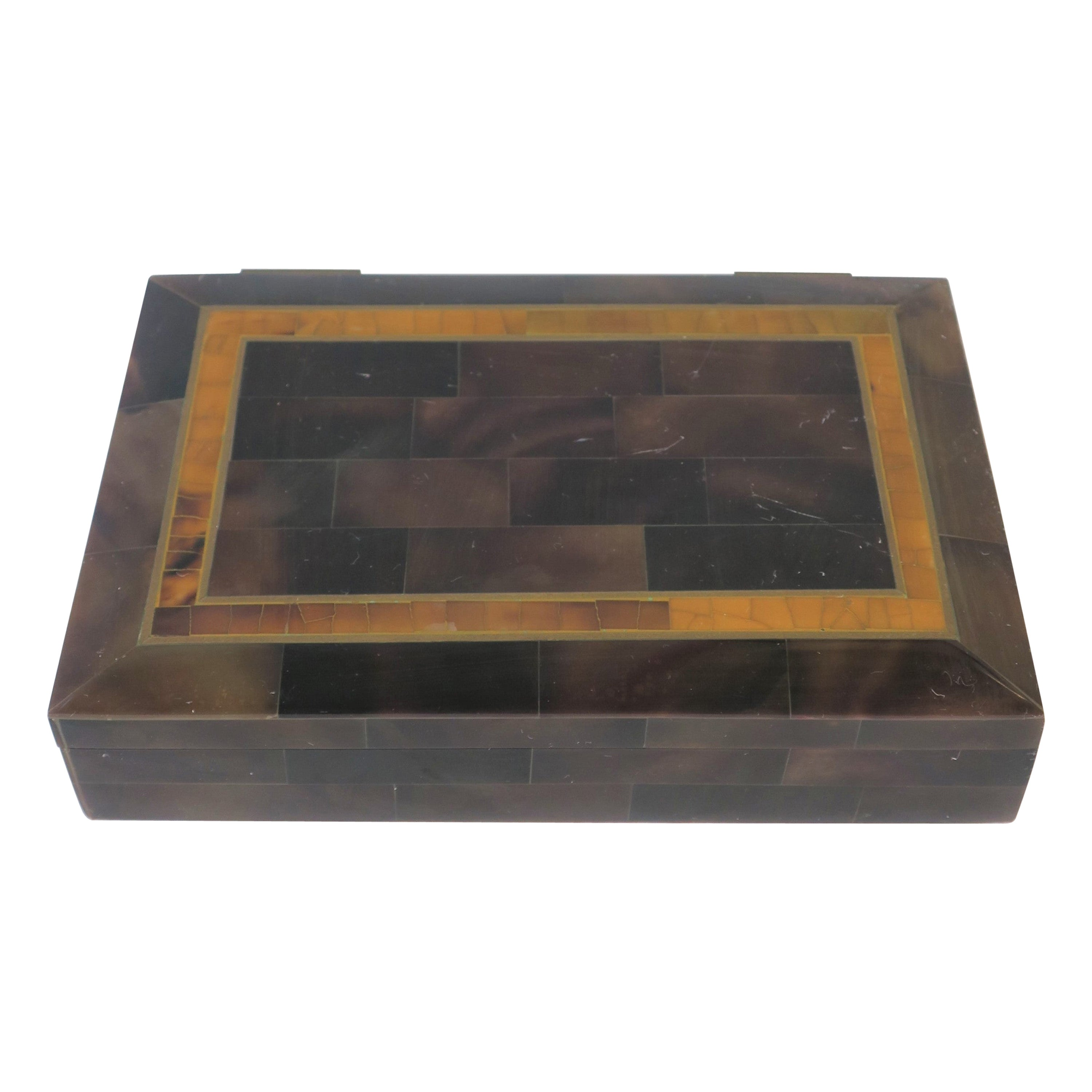 Modern Marble and Brass Jewelry Box