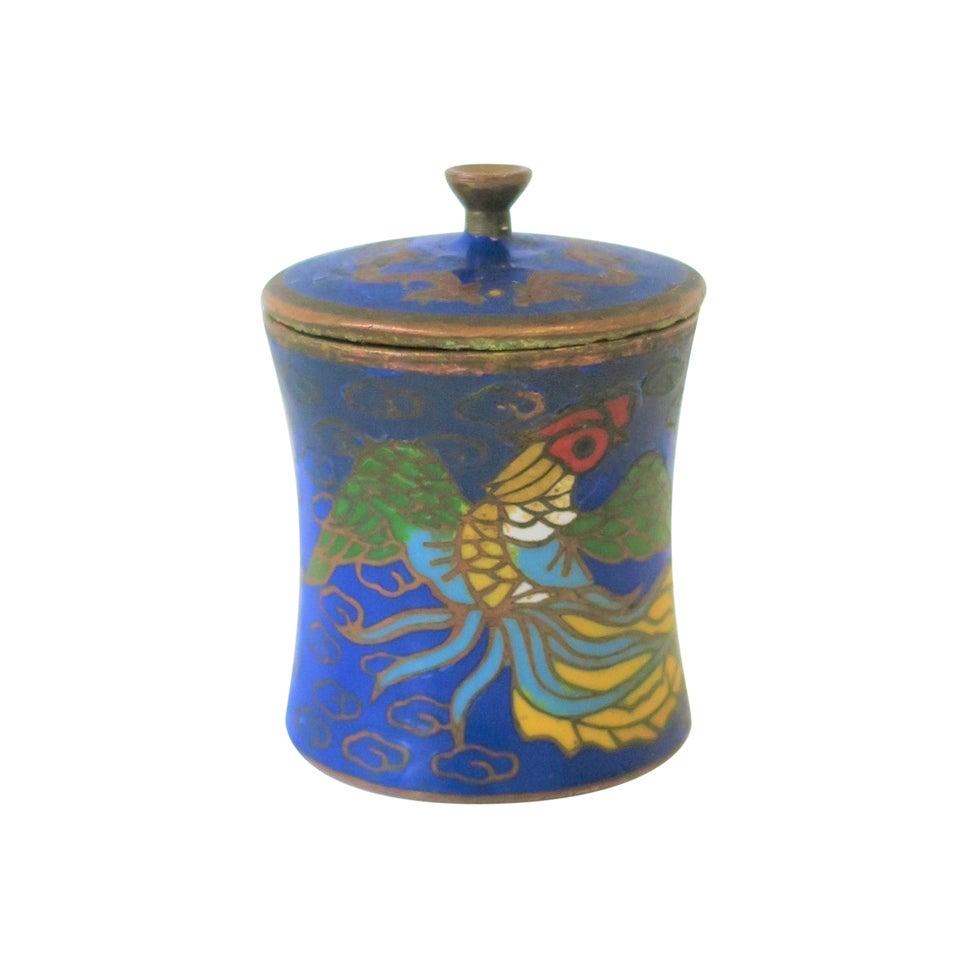 Chinese Round Cloissone Enamel and Brass Box