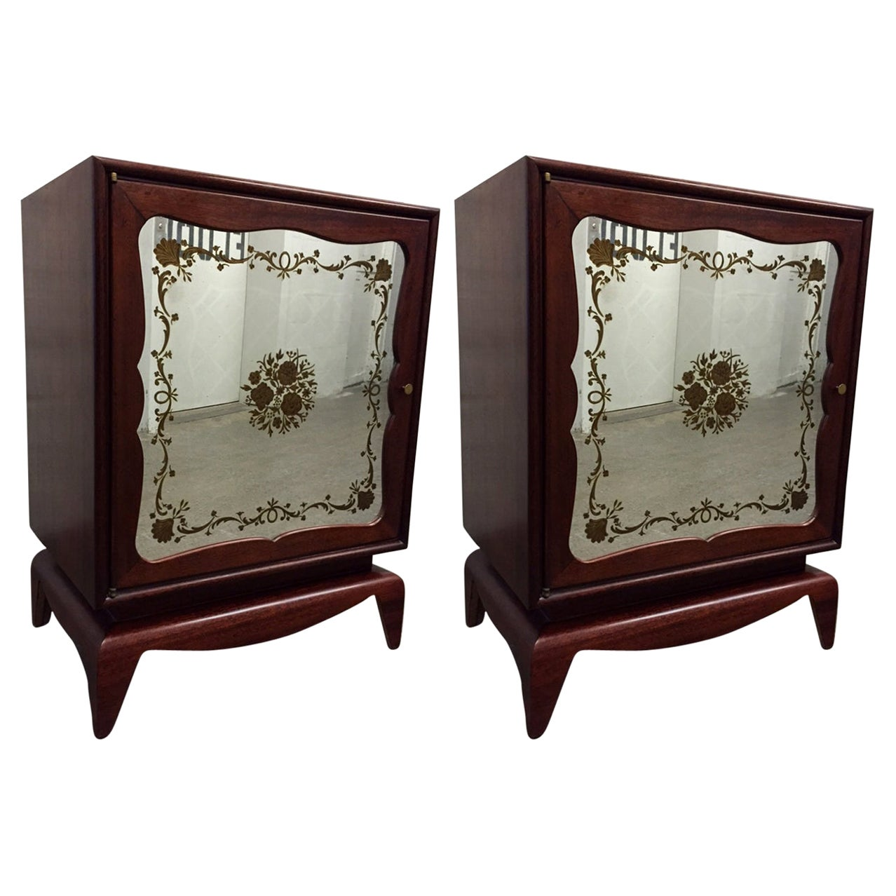 Pair of Mahogany Grosfeld House Cabinets with Etched Mirrored Panels