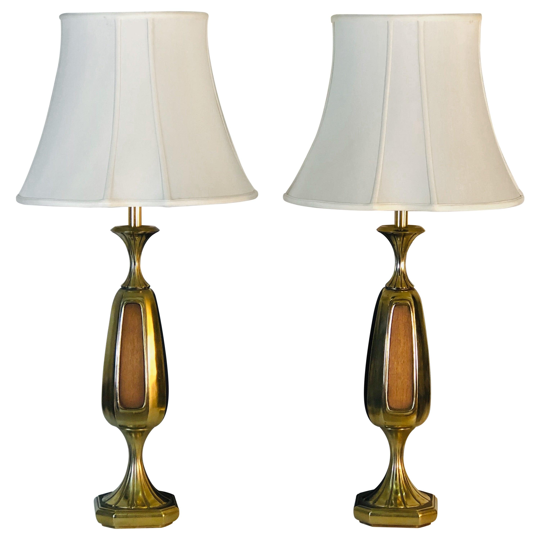 Vintage 1960s Sculptural Brass and Wood Laurel Lamps, Pair