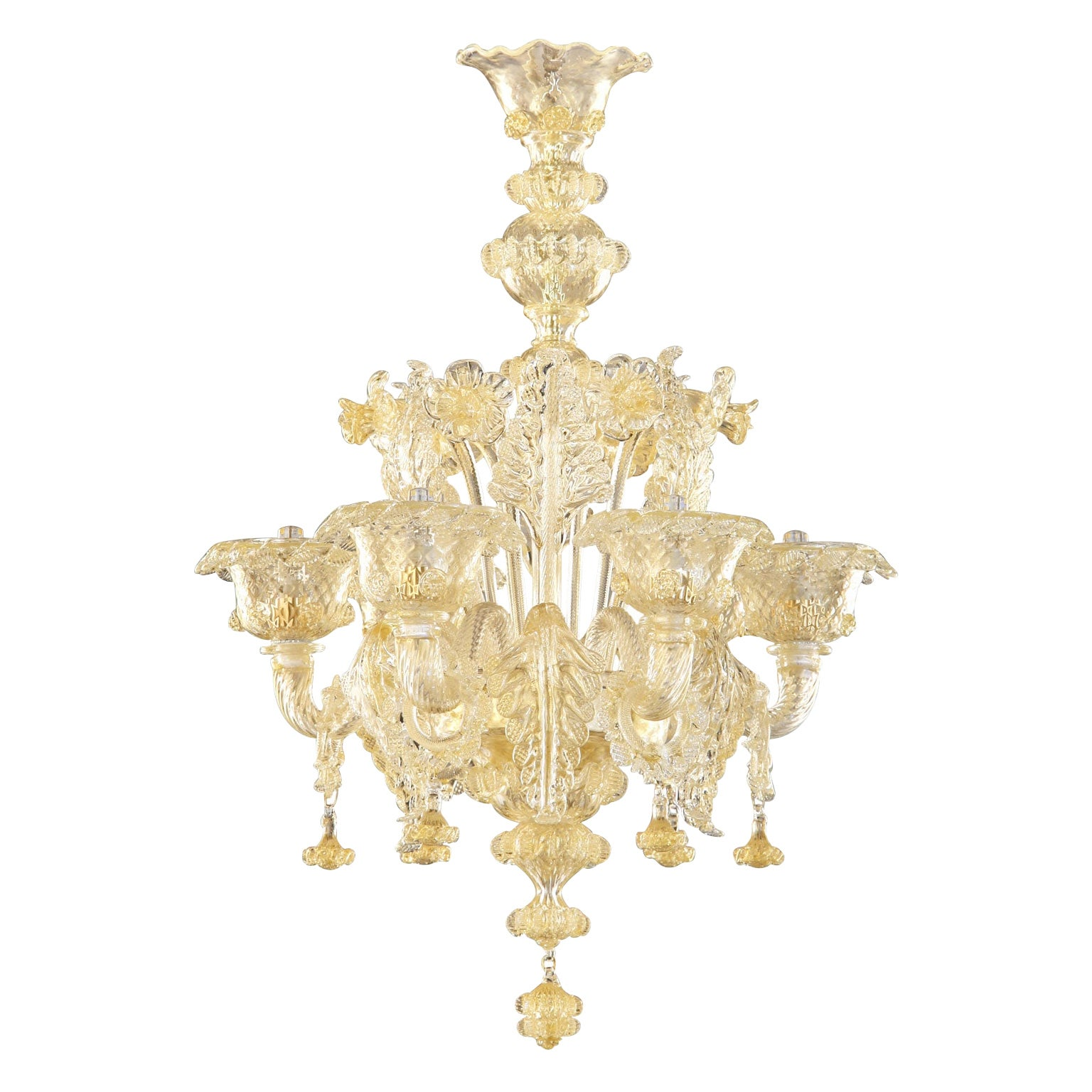 Artistic rich Chandelier 6 arms Crystal Murano Glass, Gold Details by Multiforme
