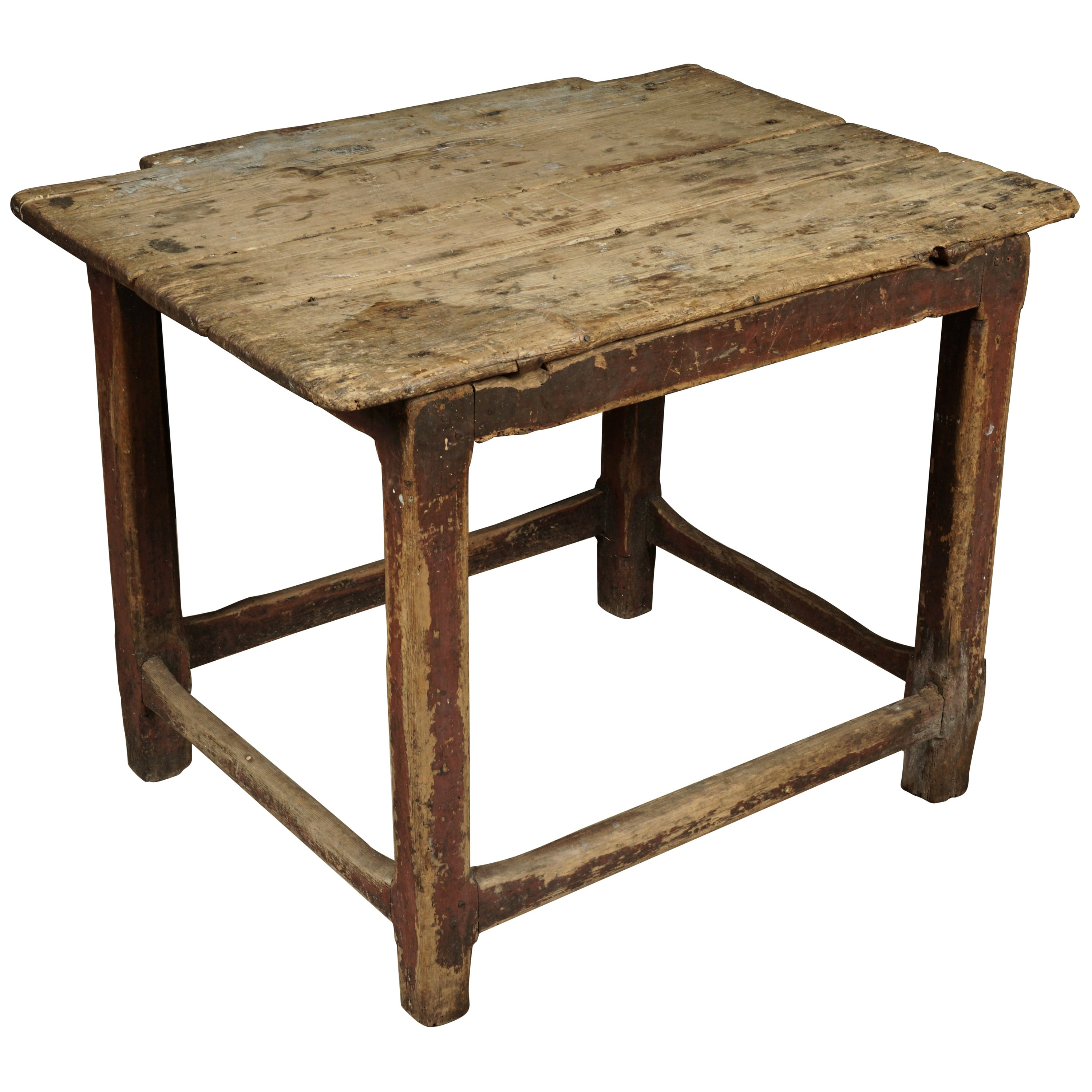 Primitive Coffee Table / Side Table from Reclaimed Antique Wood. For Sale at 1stDibs