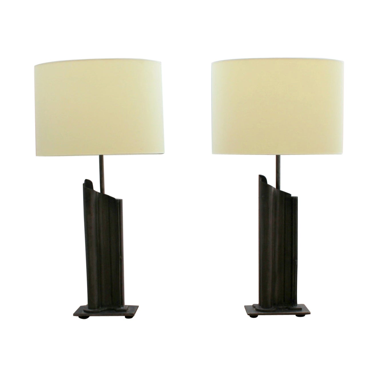 Pair of French 1970s Metal Table Lamps