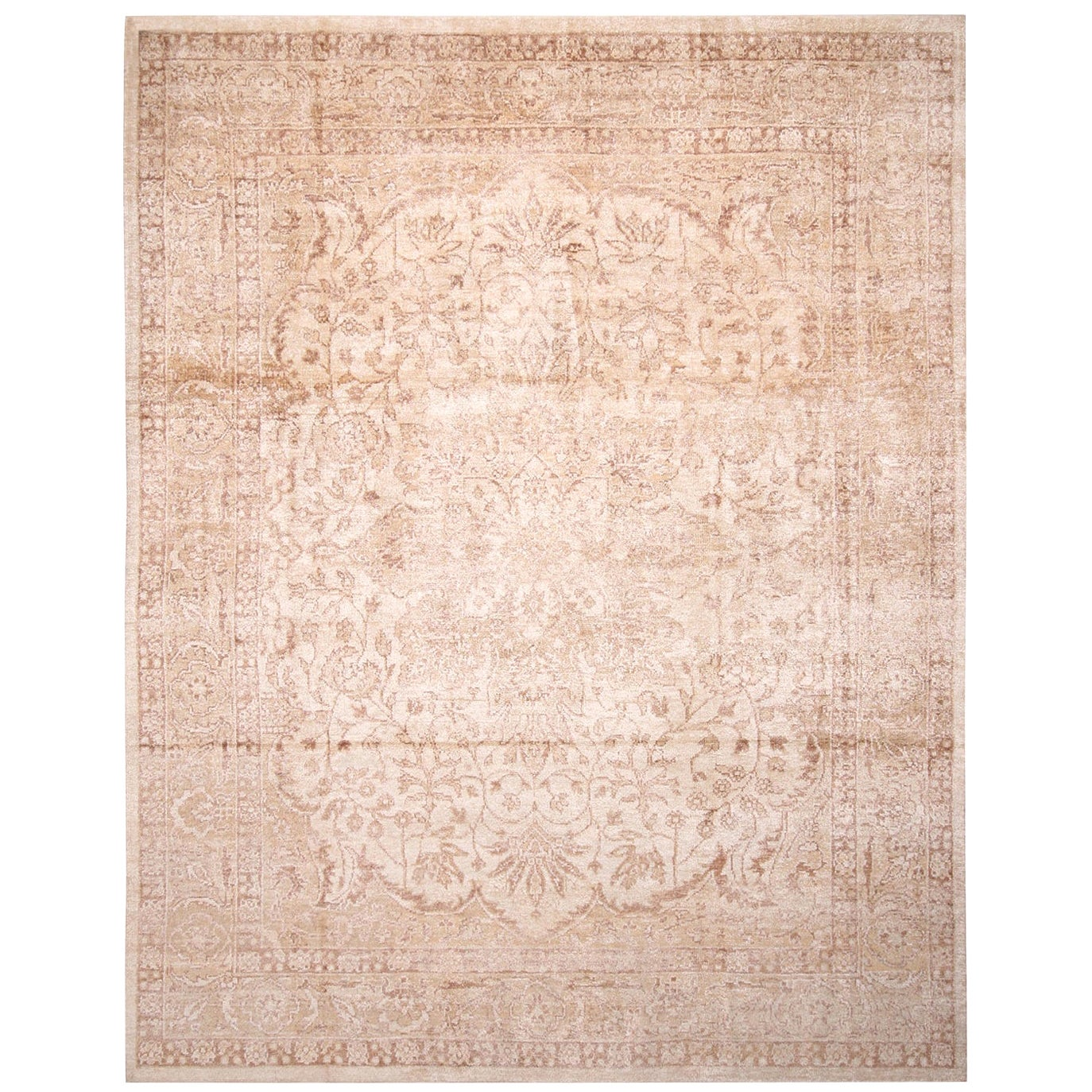 Contemporary Oushak Style Beige and Eggplant Brown Wool and Silk Rug