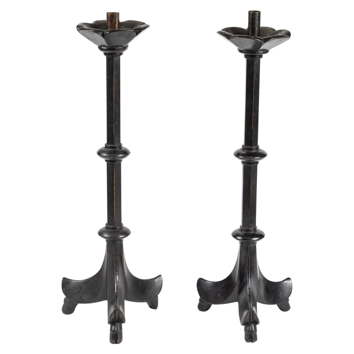 19th Century French Black Candlesticks