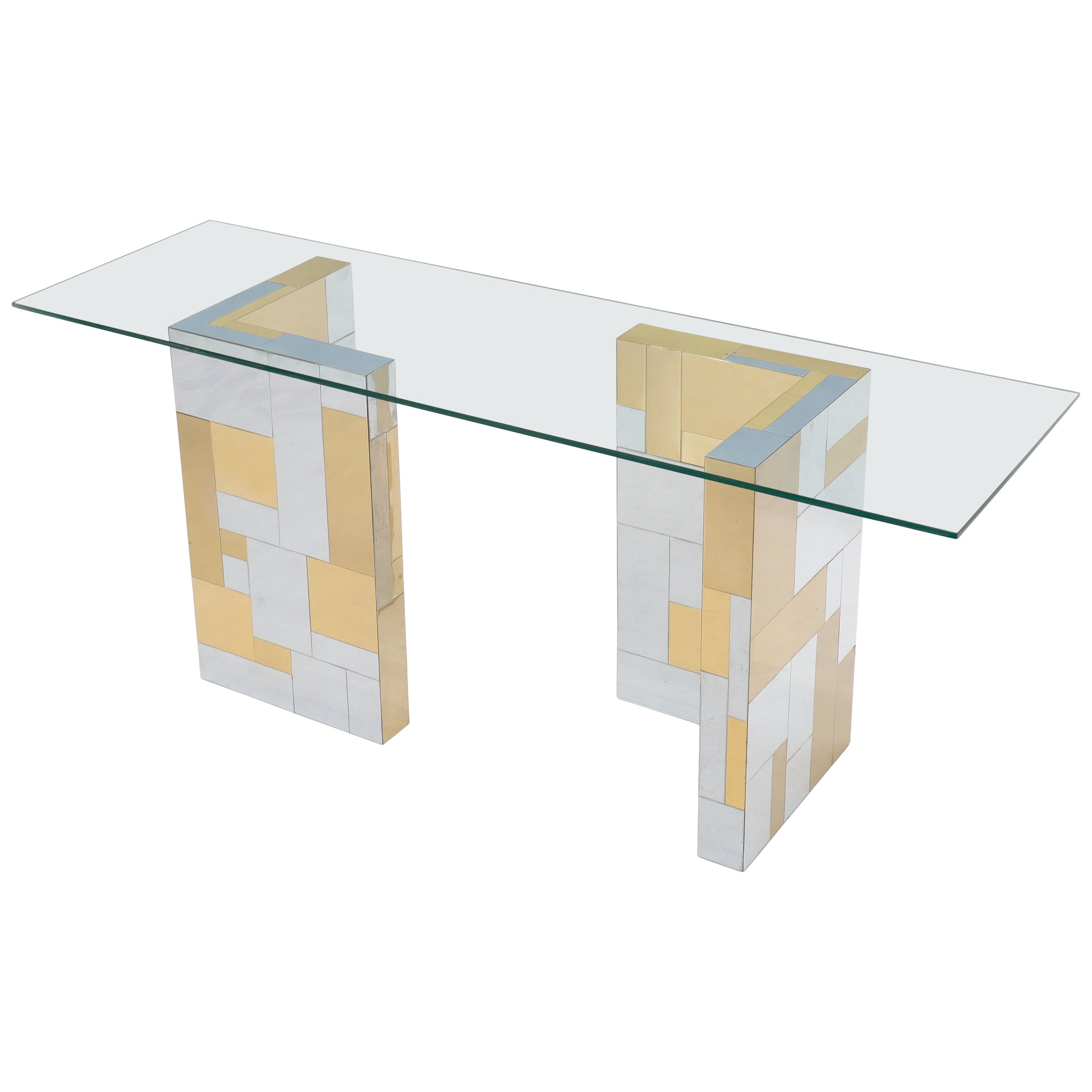 Paul Evans Mid-Century Modern Glass Top Polished Brass and Chrome Console Table