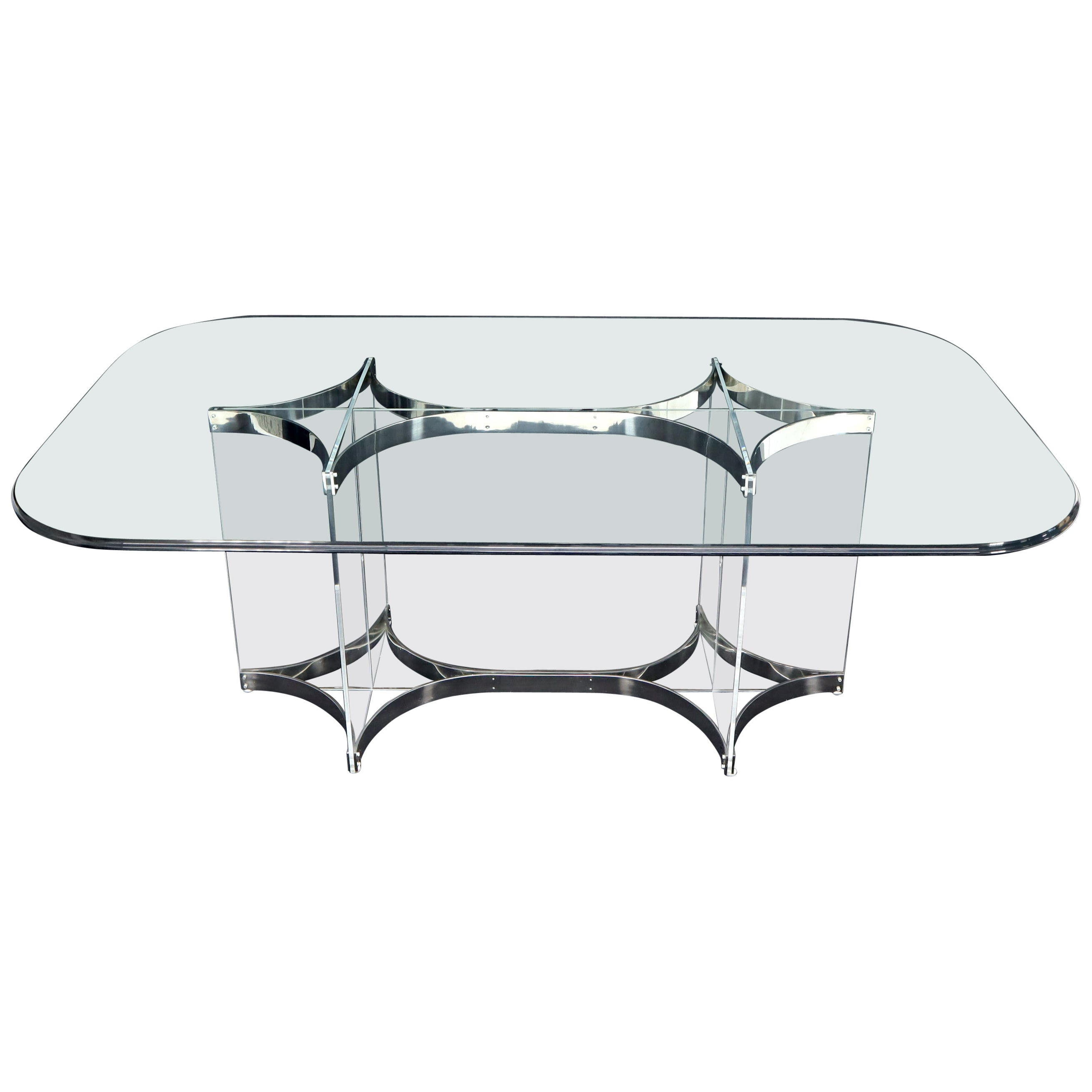 Large Glass Top Lucite & Stainless Base Rectangle Dining Table w/ Rounded Corner