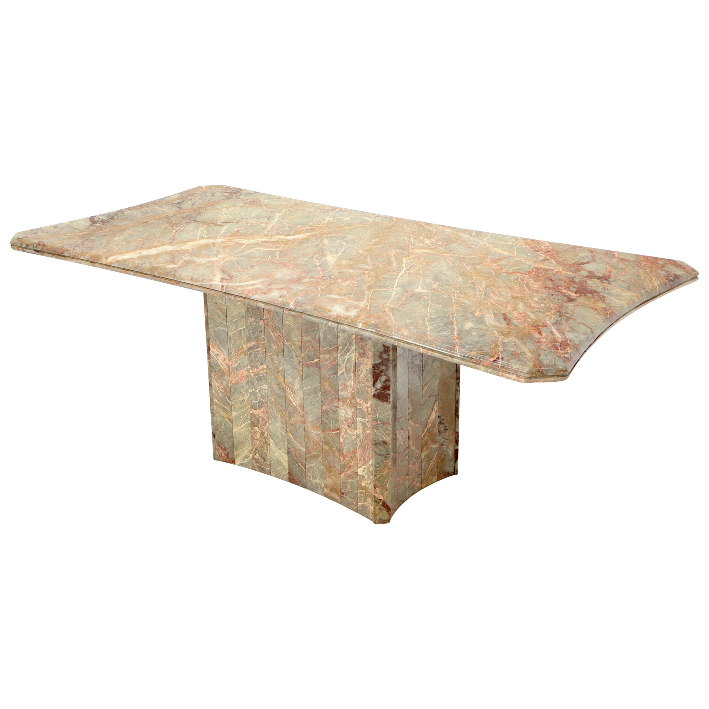 Concave Side Rectangular Pedestal Base Marble Dining Conference Table