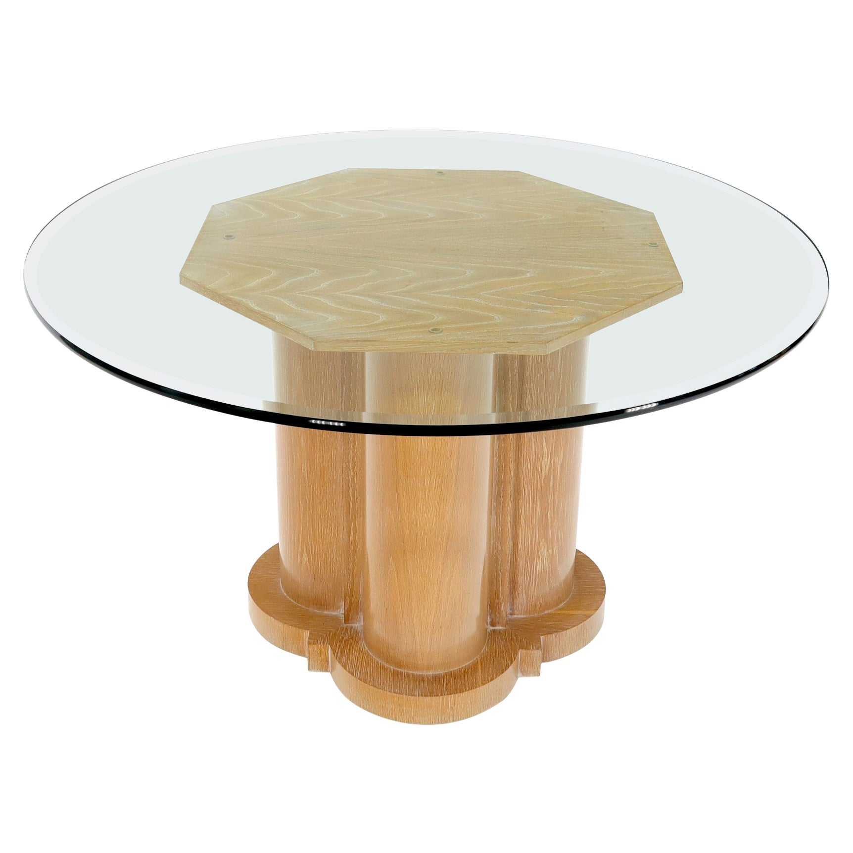 Cerused Oak Triple Cylinder Base Round Glass Top Dining Conference Table