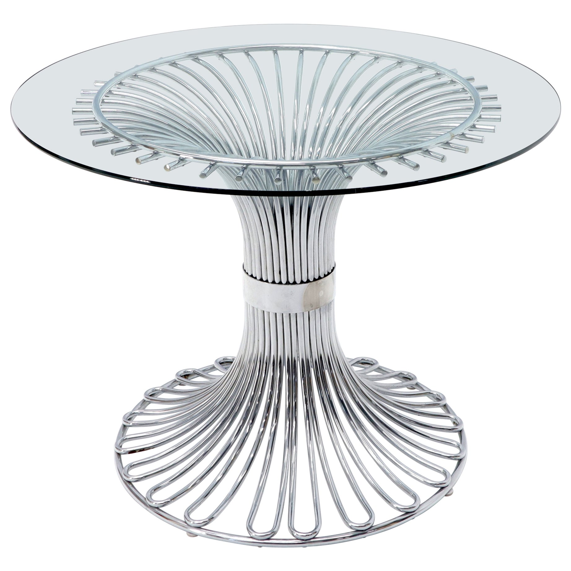 Bent Chrome Tube Pedestal Base Glass Top Dining Table