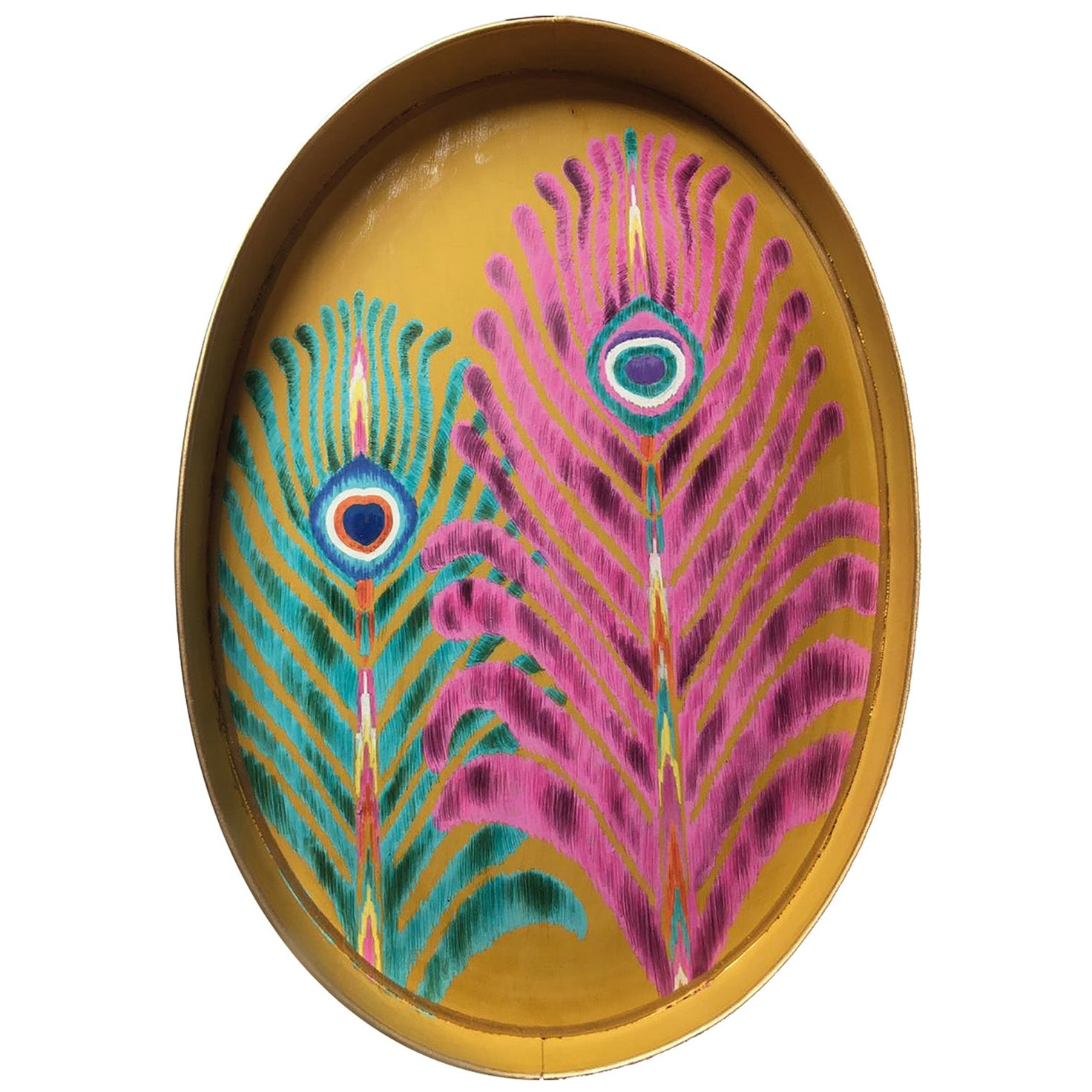 """Les Ottomans """"The Peacock Design"""" Oval Iron Tray by Matthew Williamson"""