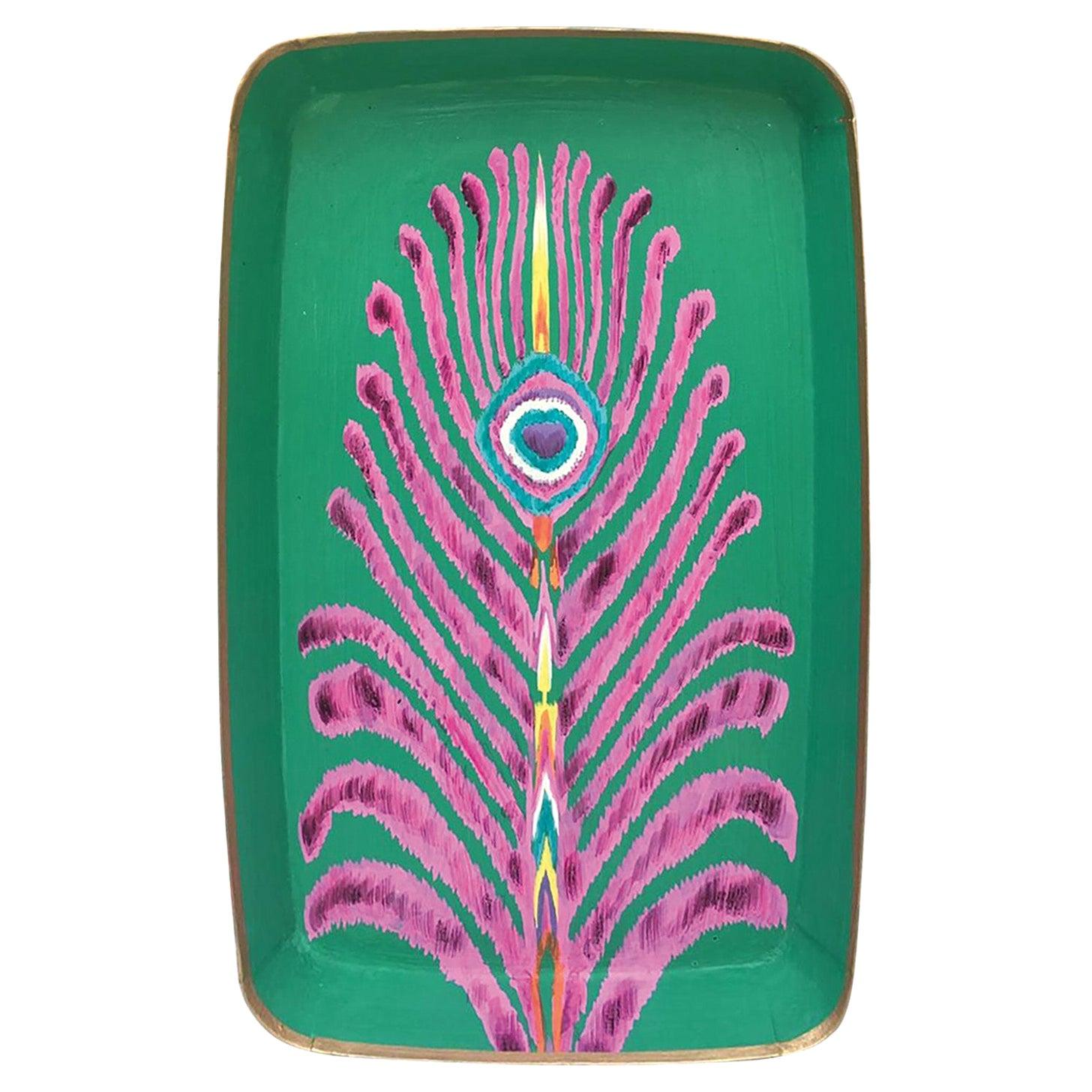 "Les Ottomans ""The Peacock Design"" Rectangular Iron Tray by Matthew Williamson"