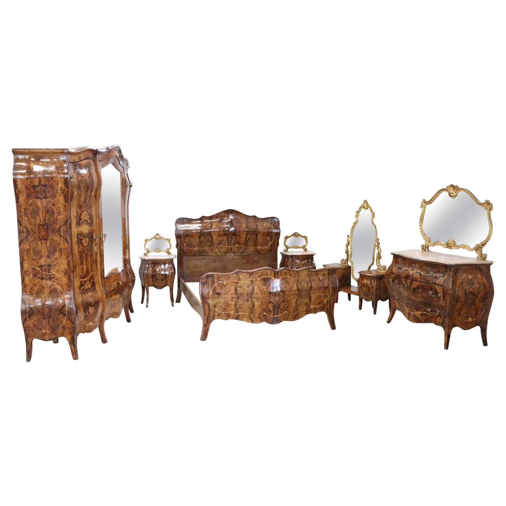20th Century Italian Louis XV Style Gilded and Inlaid Walnut Bombay Bedroom Set