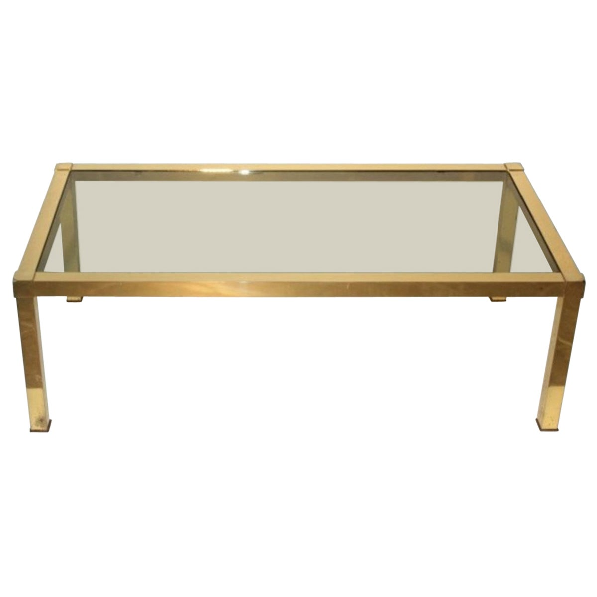 Low Gold Table 1970s Solid Brass Italian Design