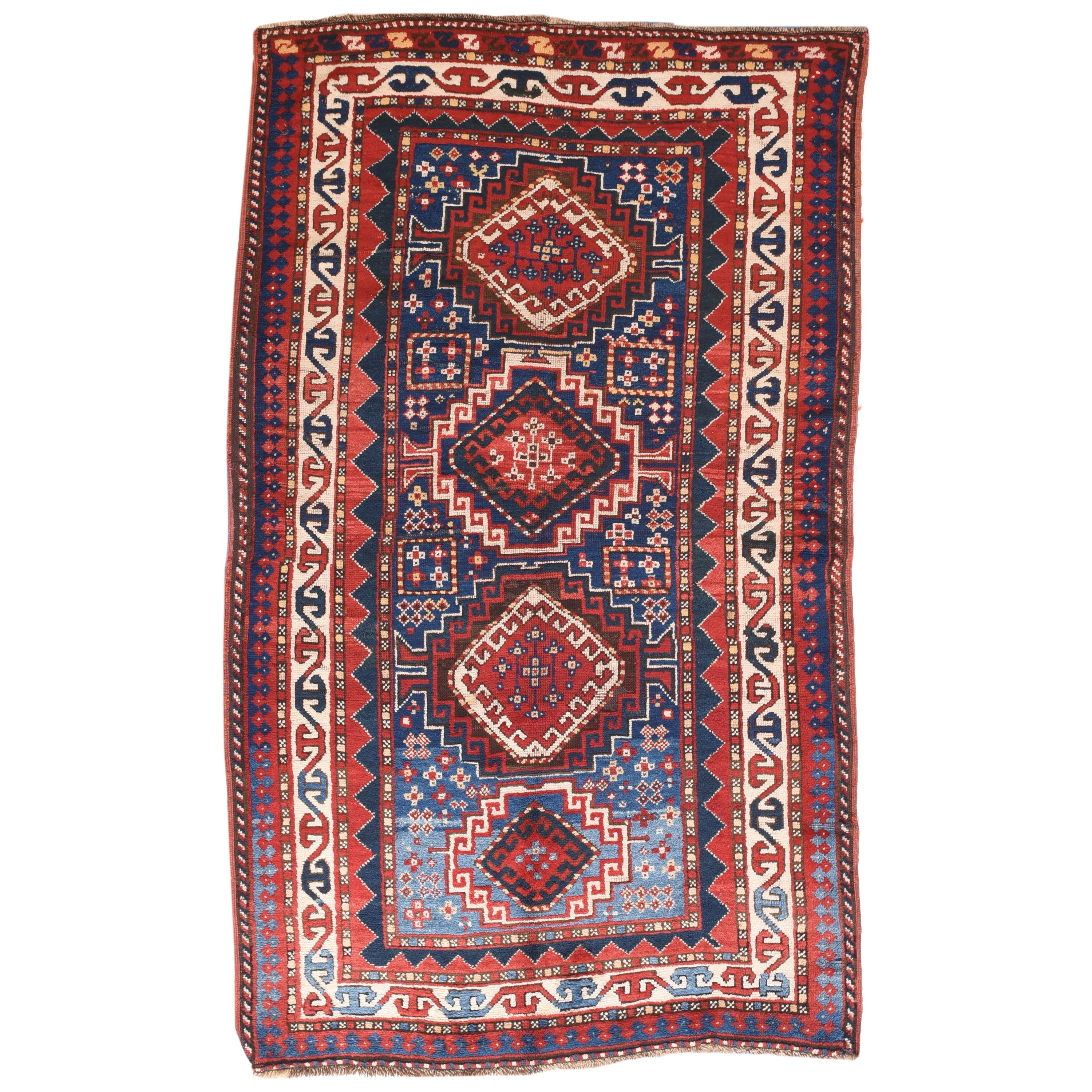 Fine Antique Kazak Russian Rug, Hand Knotted, circa 1890