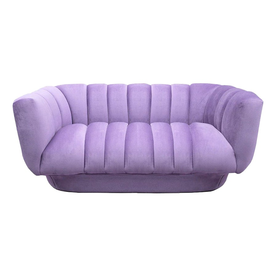 New Postmodern Style Purple Velvet Loveseat Sofa Beirut