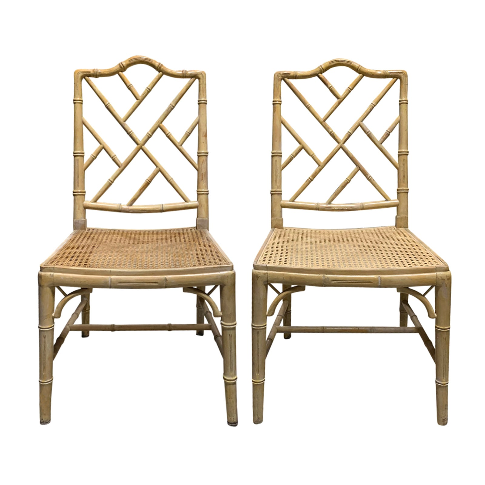 Pair of 20th Century Faux Bamboo Side Chairs with Cane Seats