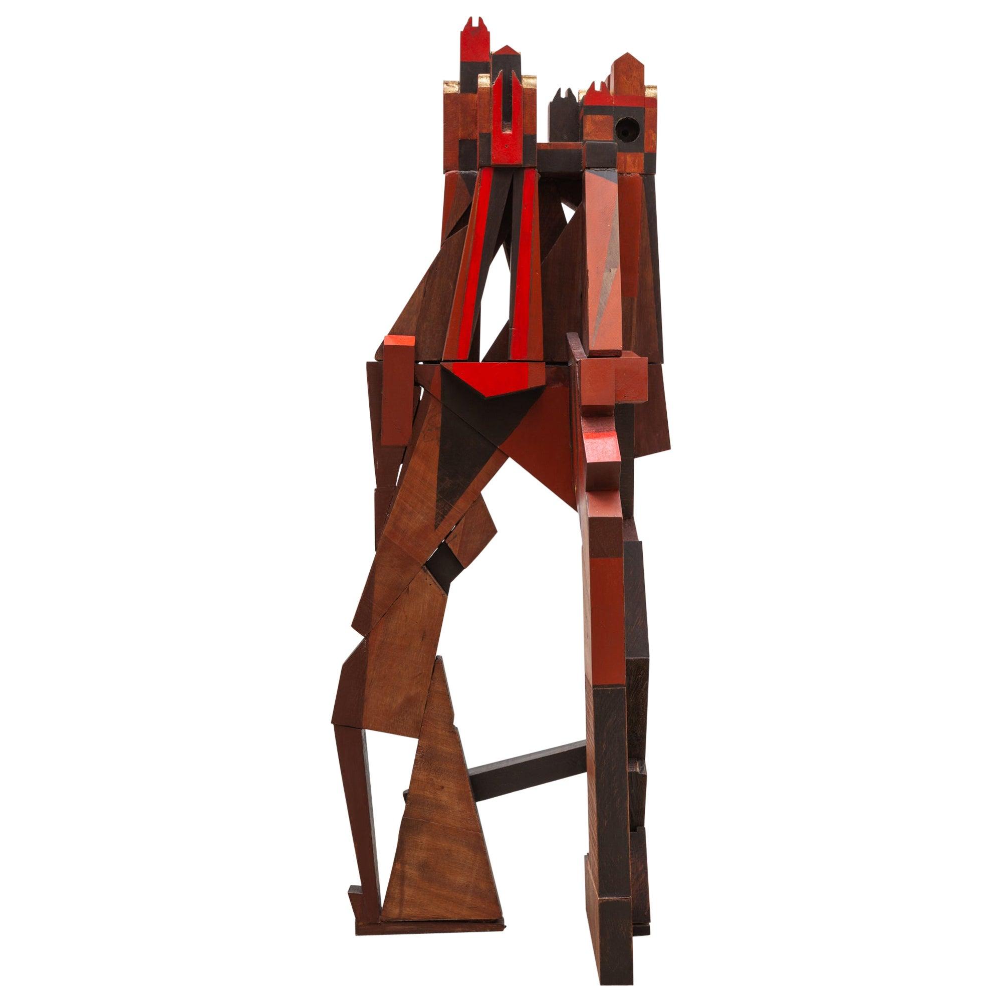 Cubist Cityscape Wood Sculpture Mid-Century Modern, Belgium, 1960s