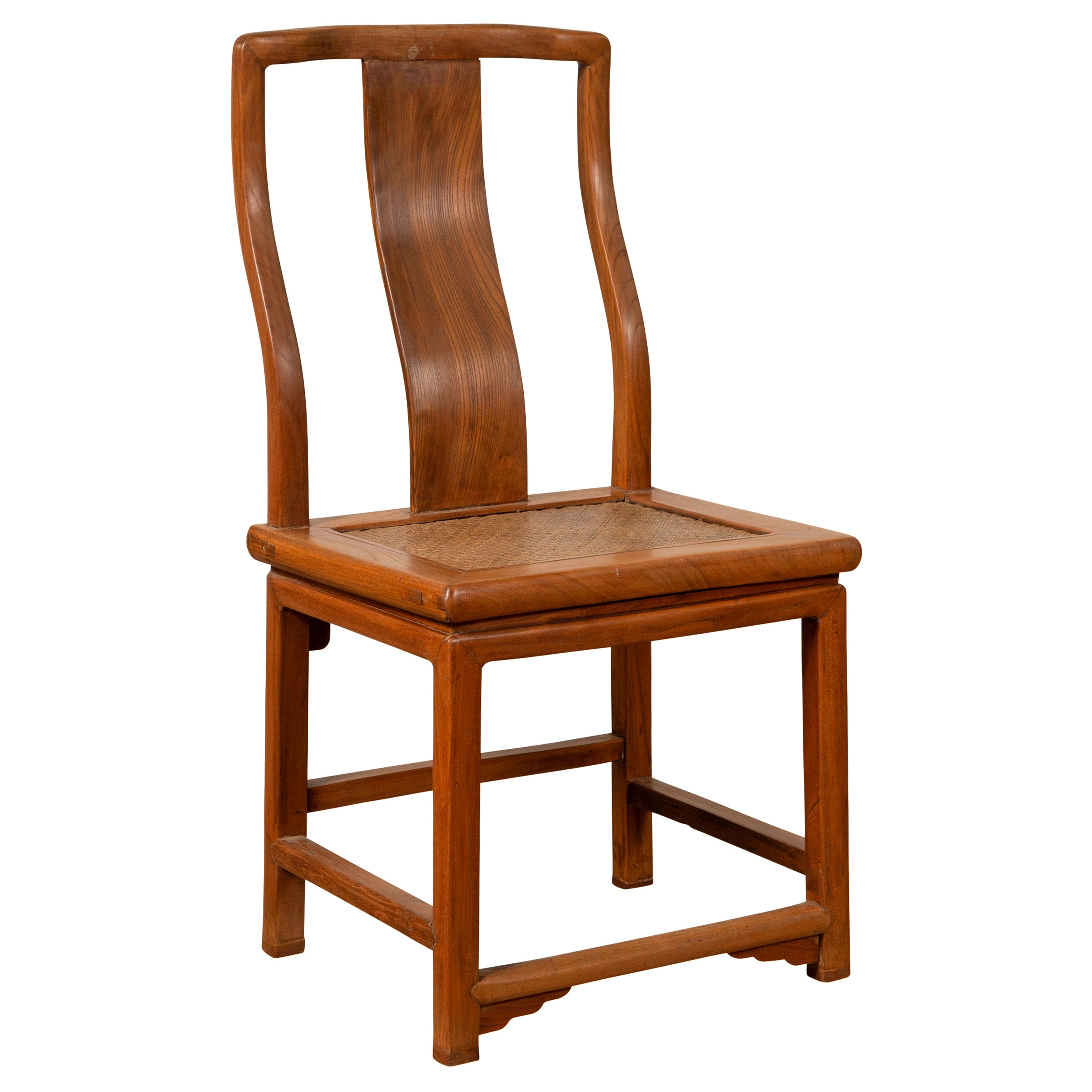 Ming Dynasty Style Natural Wood Wedding Side Chair with Woven Rattan Seat