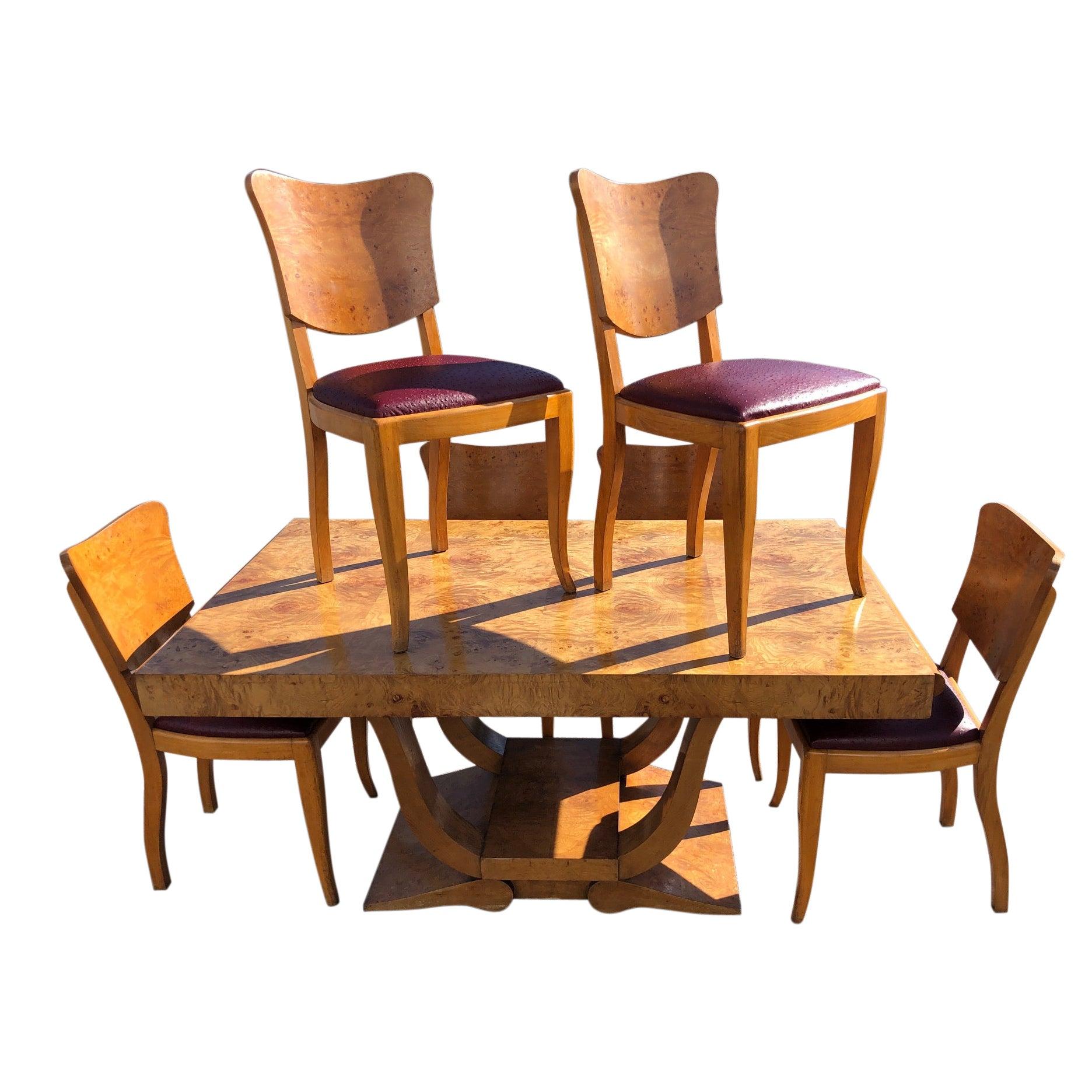 Art Deco Dining Set in Burl Wood