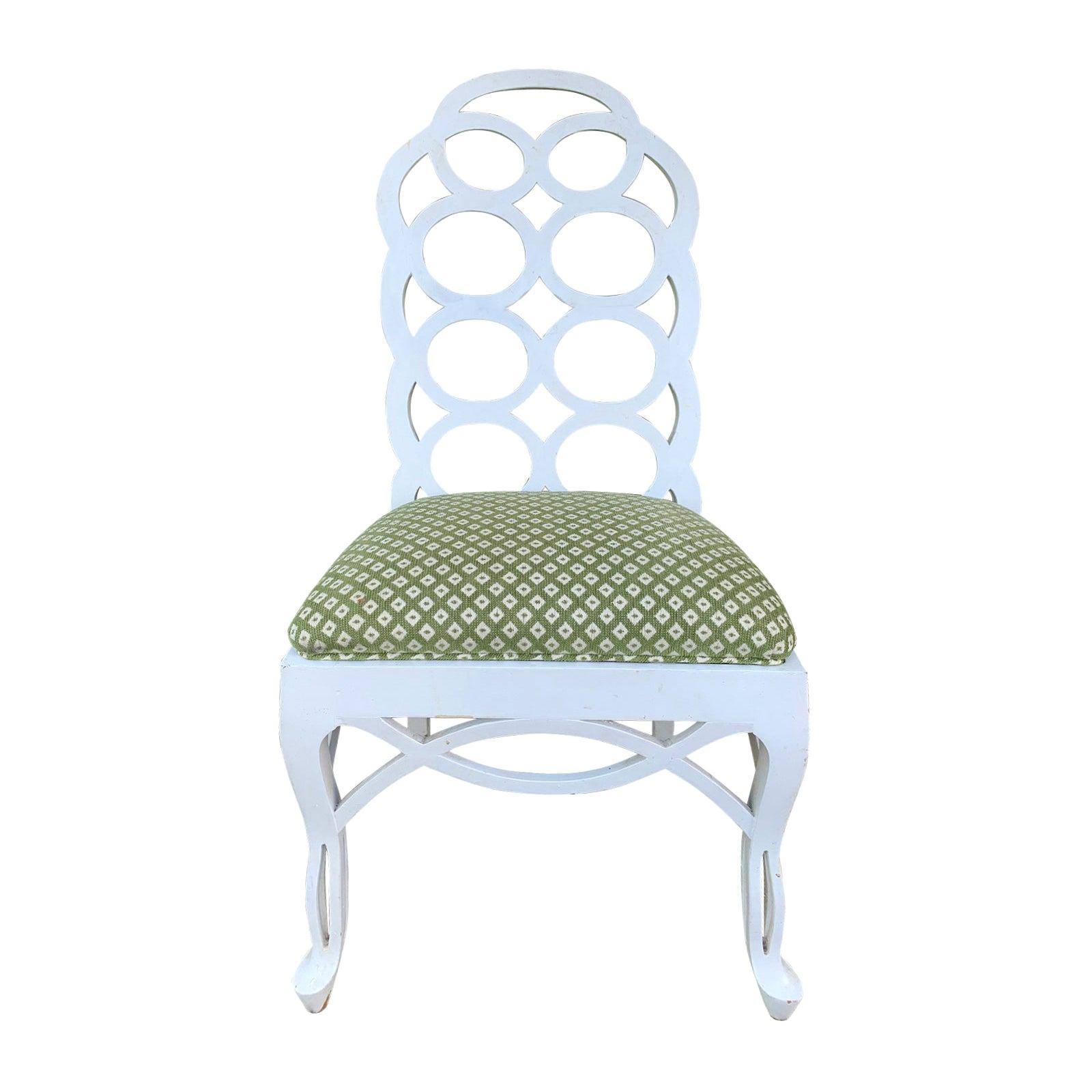 20th Century Frances Elkins Style White Loop Side Chair
