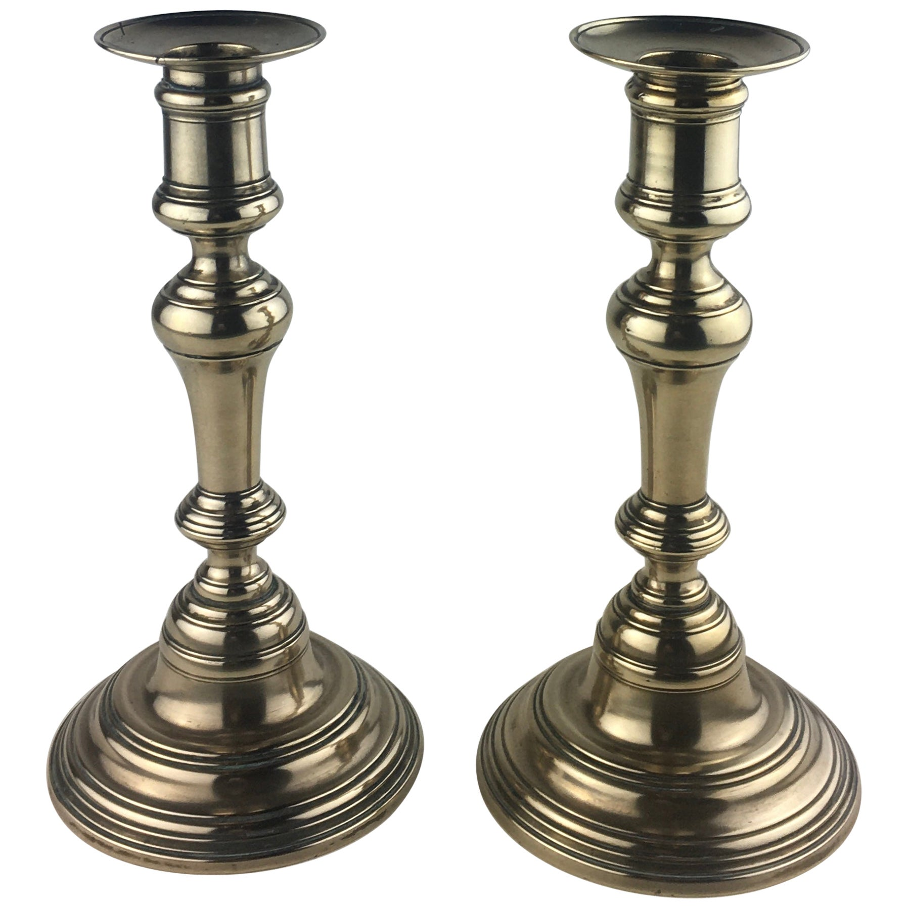 Pair of French Solid Brass Candlesticks