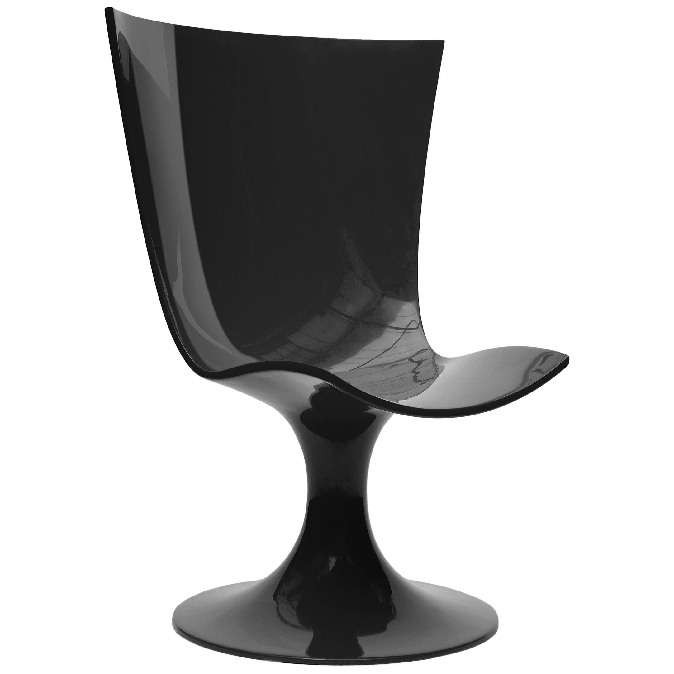 Imposing Black Seat, Decorative and Sculptural Santos Chair by Joel Escalona