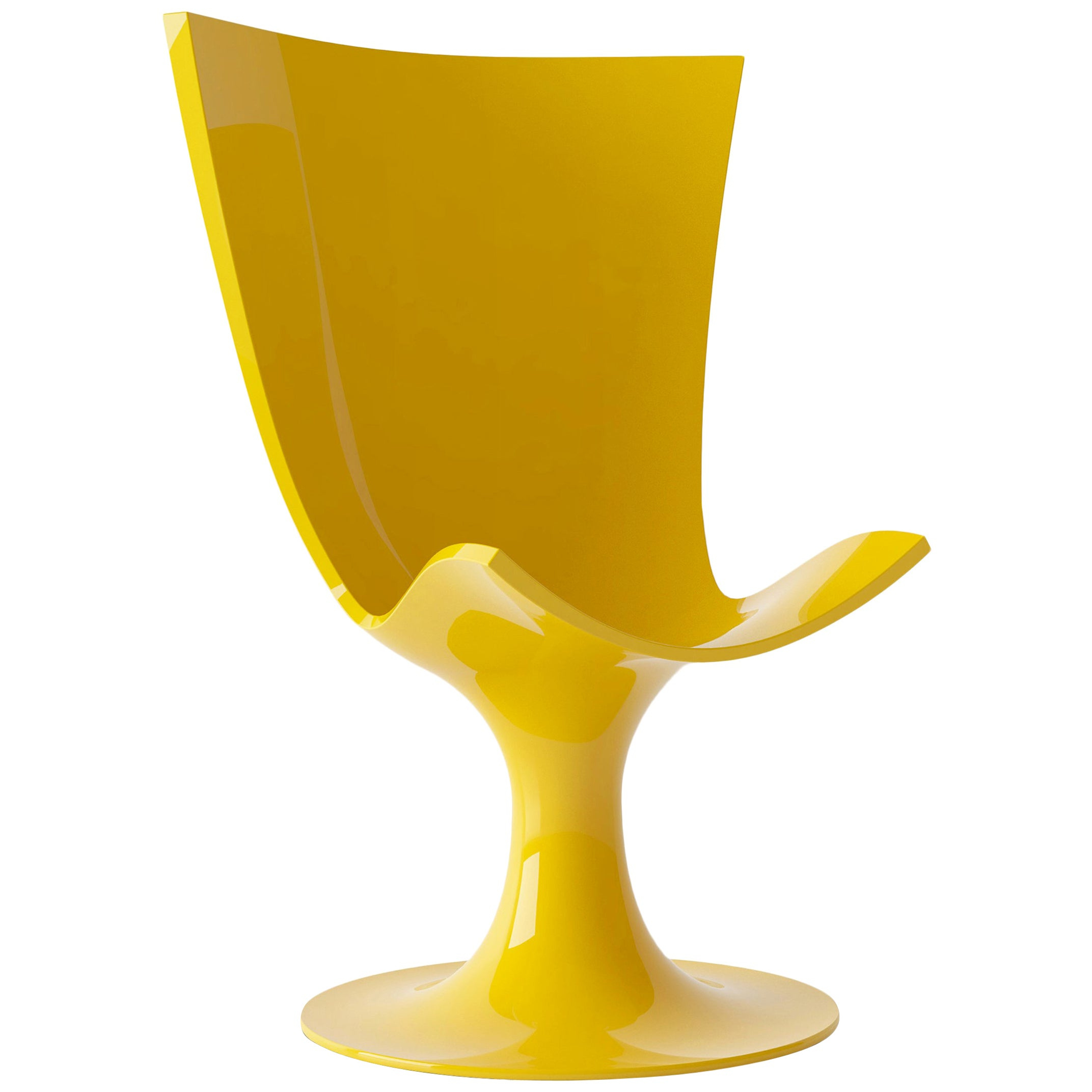 Imposing Yellow Seat, Decorative and Sculptural Santos Chair by Joel Escalona