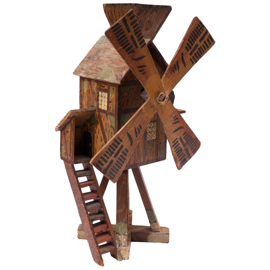 Early 20th Century Folk Art Hand Carved and Painted Barn Whirligig / Birdhouse