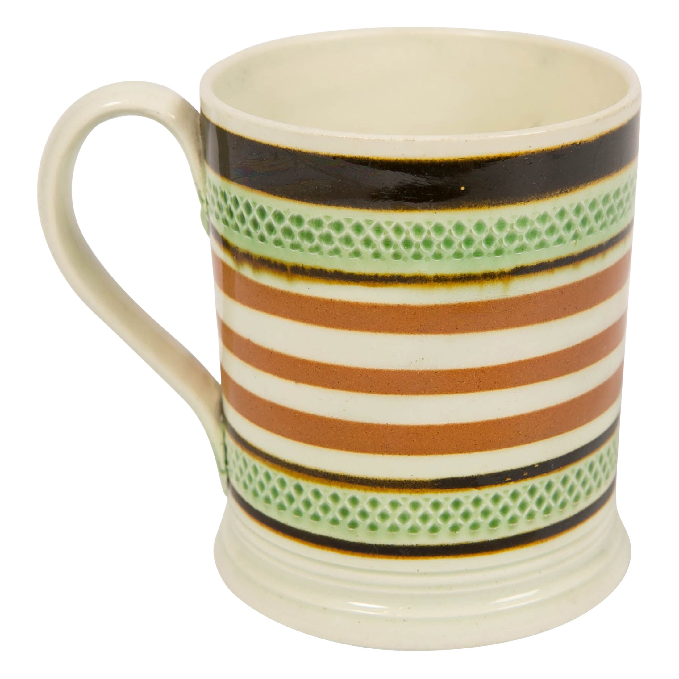 Mochaware Mug Banded with Green Glaze and Brown Slip, England, circa 1810