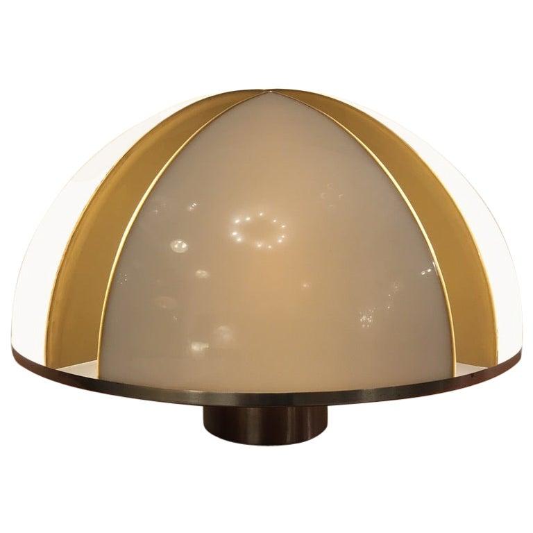 1970s Italian Acrylic and Steel Table Lamp