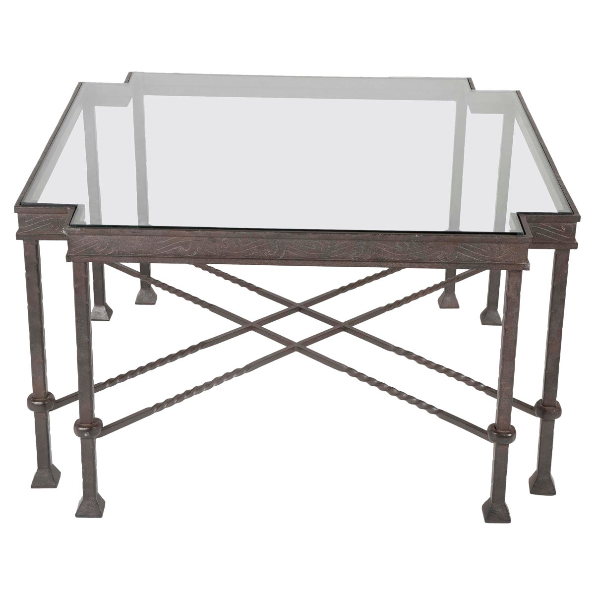 Diego Giacometti Style Wrought Iron Side Table with Glass Top